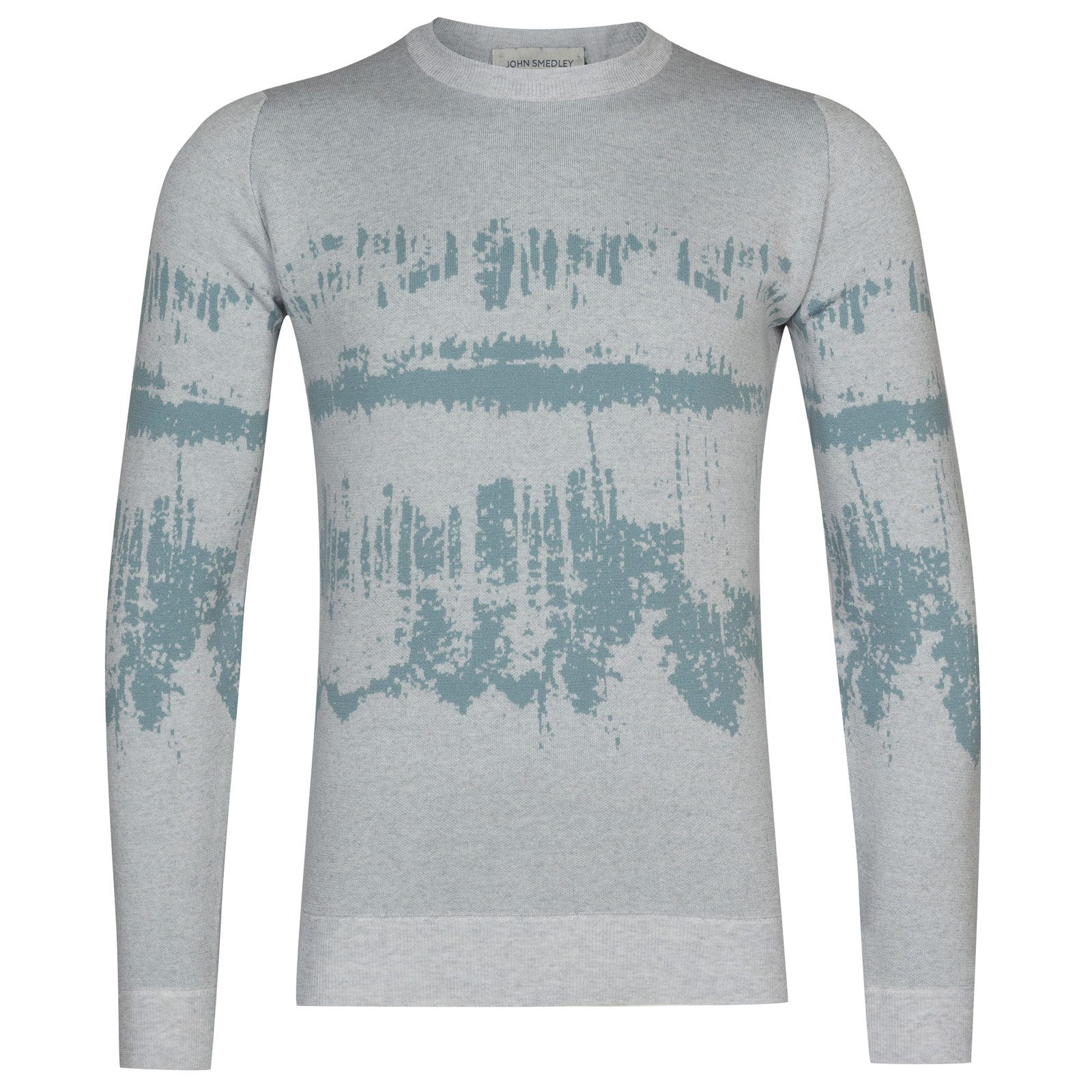 John Smedley girling Merino Wool Pullover in Bardot Grey/Summit Blue-L