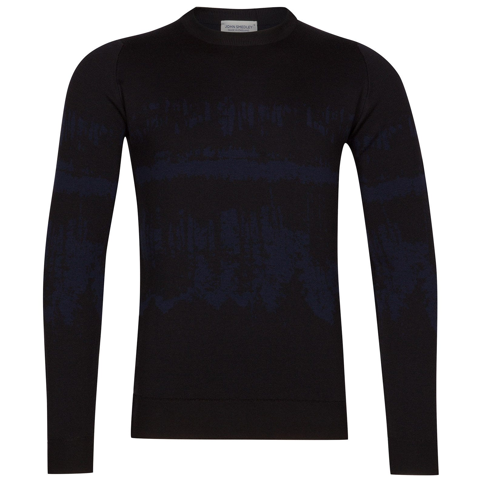 John Smedley girling Merino Wool Pullover in Black/Midnight-L
