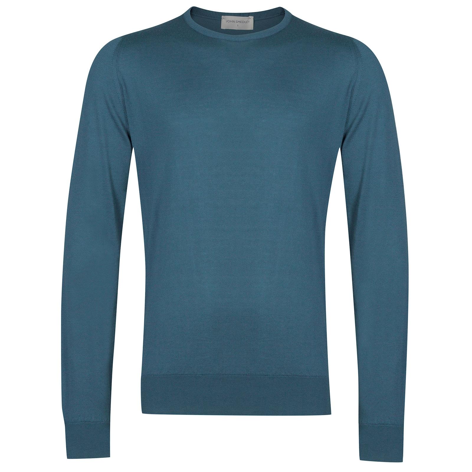 John Smedley HatfieldSea Island Cotton Pullover in Bias Blue-XL