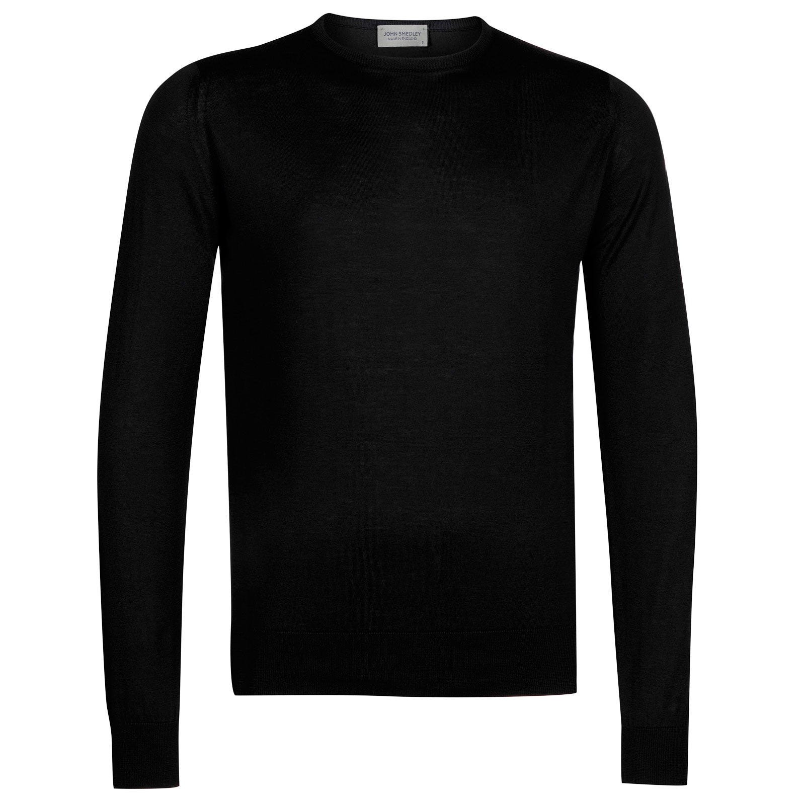 John Smedley hatfield Sea Island Cotton Pullover in Black-XXL
