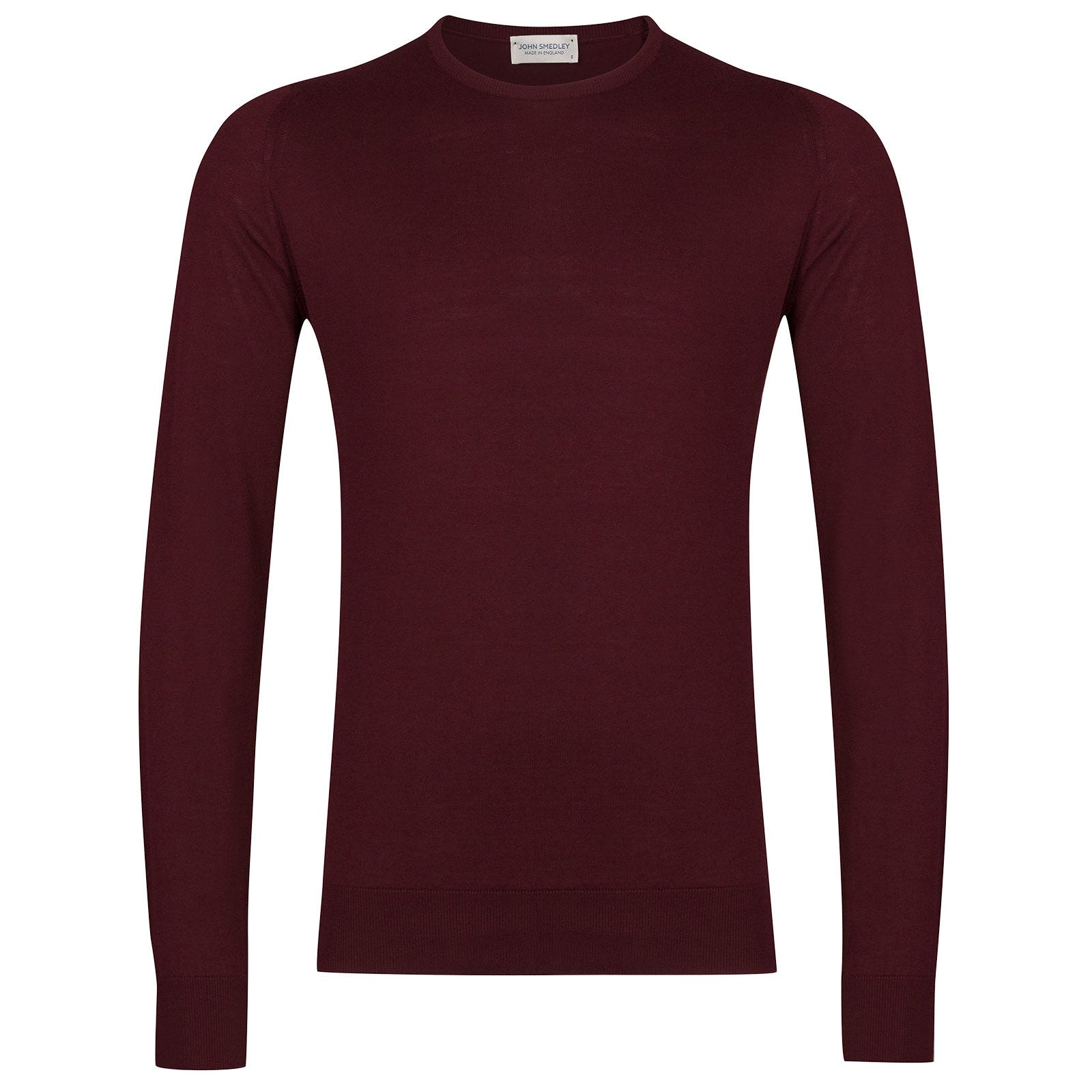 John Smedley Hatfield Sea Island Cotton Pullover in Bordeaux-XL