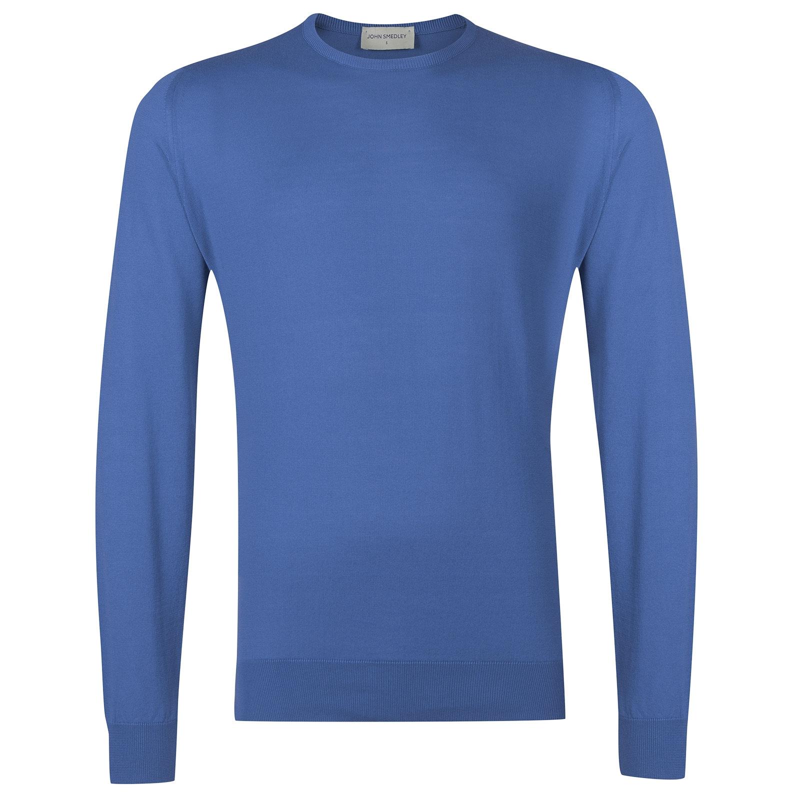 John Smedley HatfieldSea Island Cotton Pullover in Chambray Blue-XXL