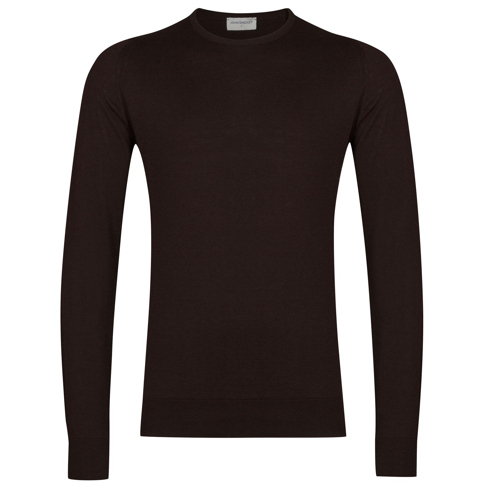 John Smedley HatfieldSea Island Cotton Pullover in Dark Leather-S