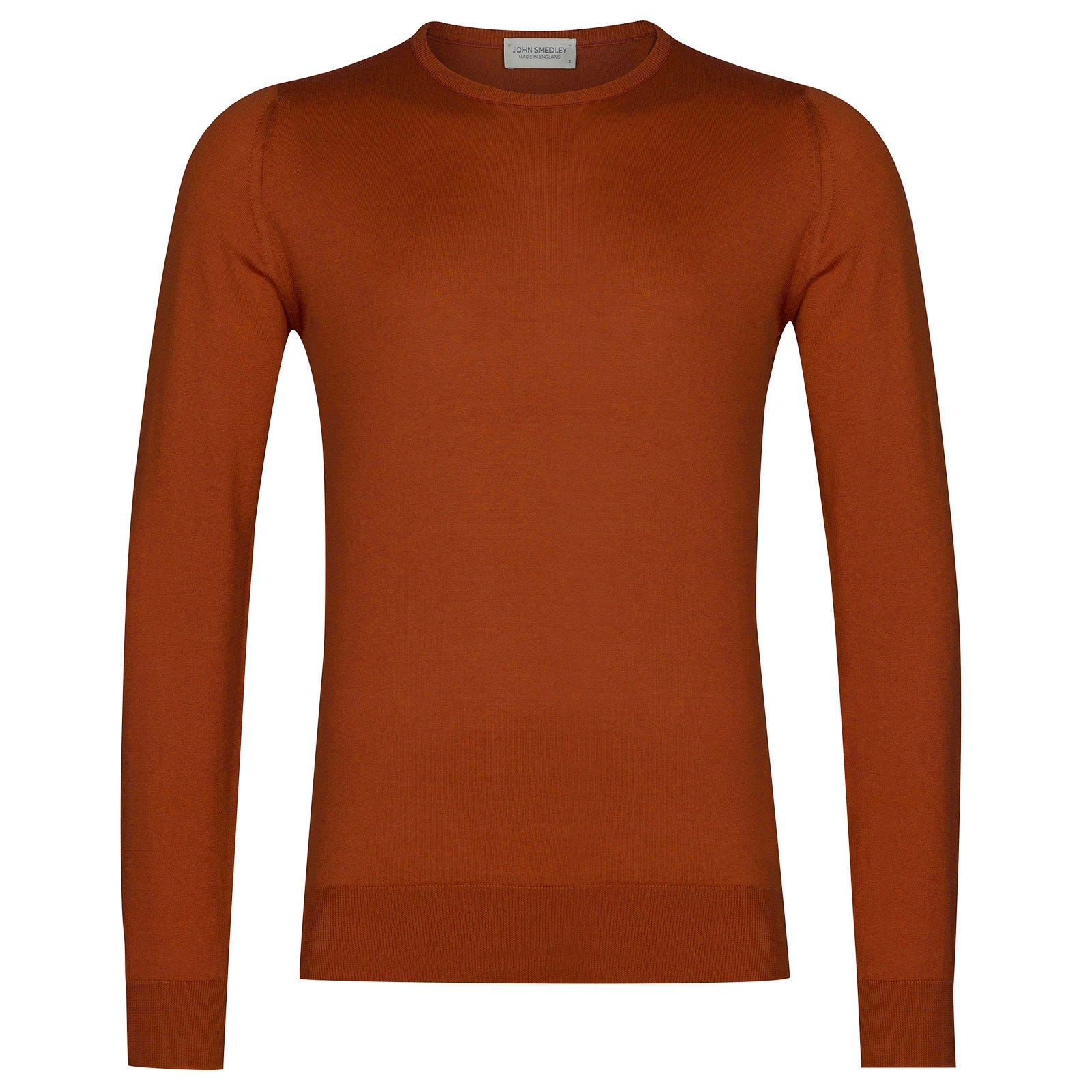 John Smedley hatfield Sea Island Cotton Pullover in Flare Orange-XXL