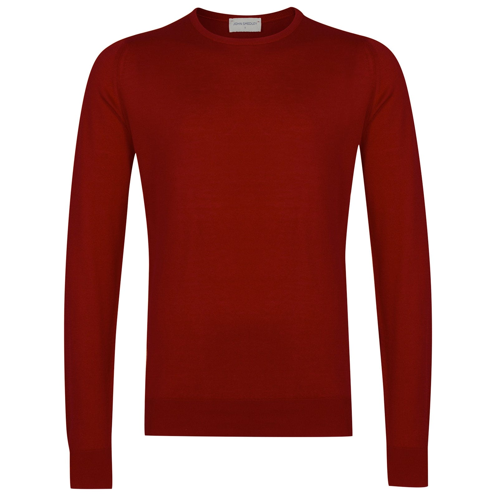 John Smedley Hatfield Sea Island Cotton Pullover in Thermal Red-XL