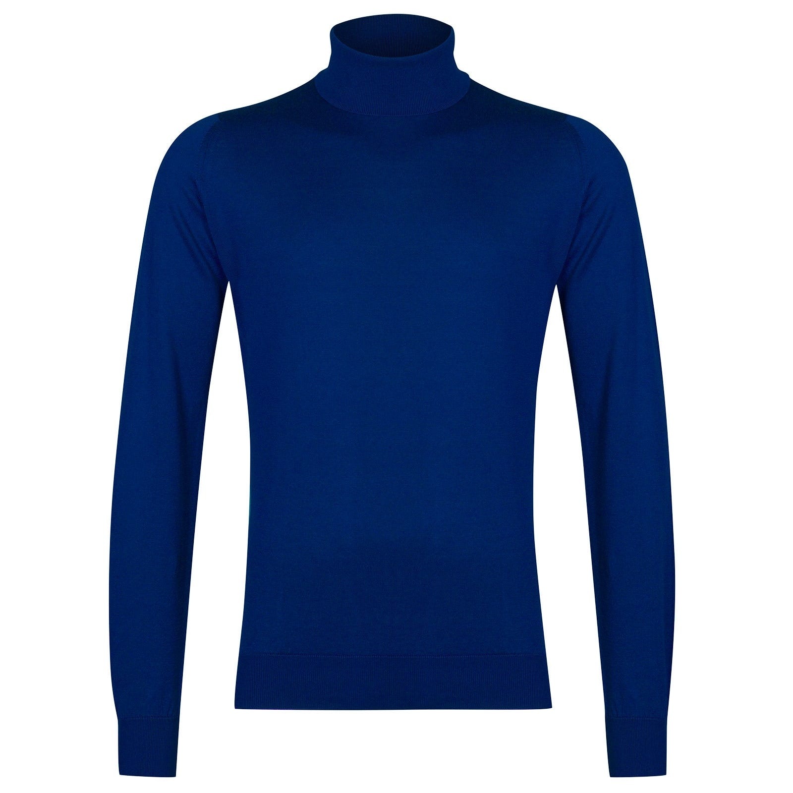 John Smedley Hawley Sea Island Cotton Pullover in Coniston Blue-L