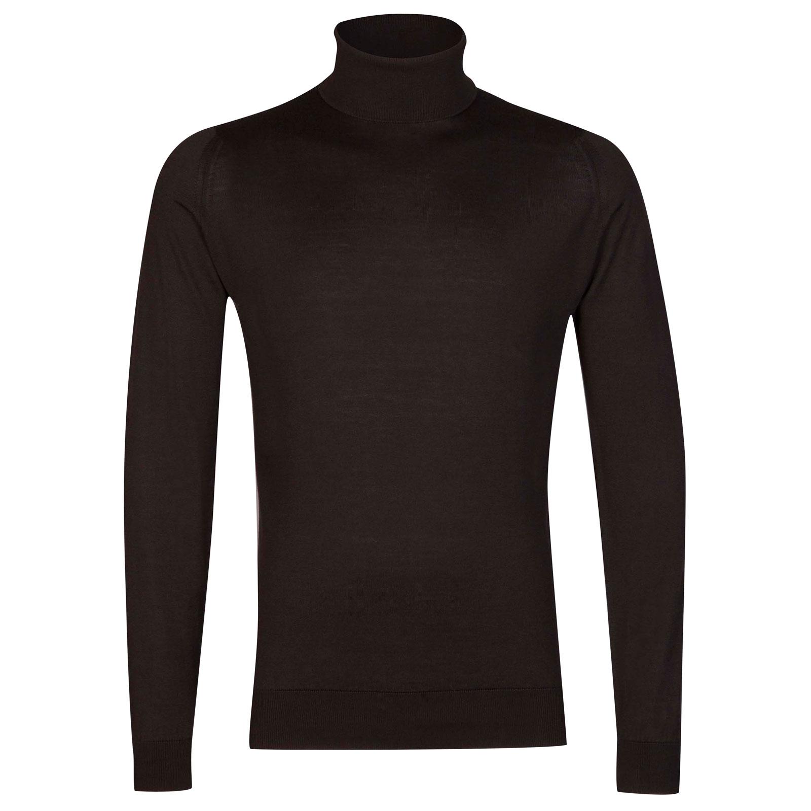 John Smedley Hawley Sea Island Cotton Pullover in Dark Leather-XL