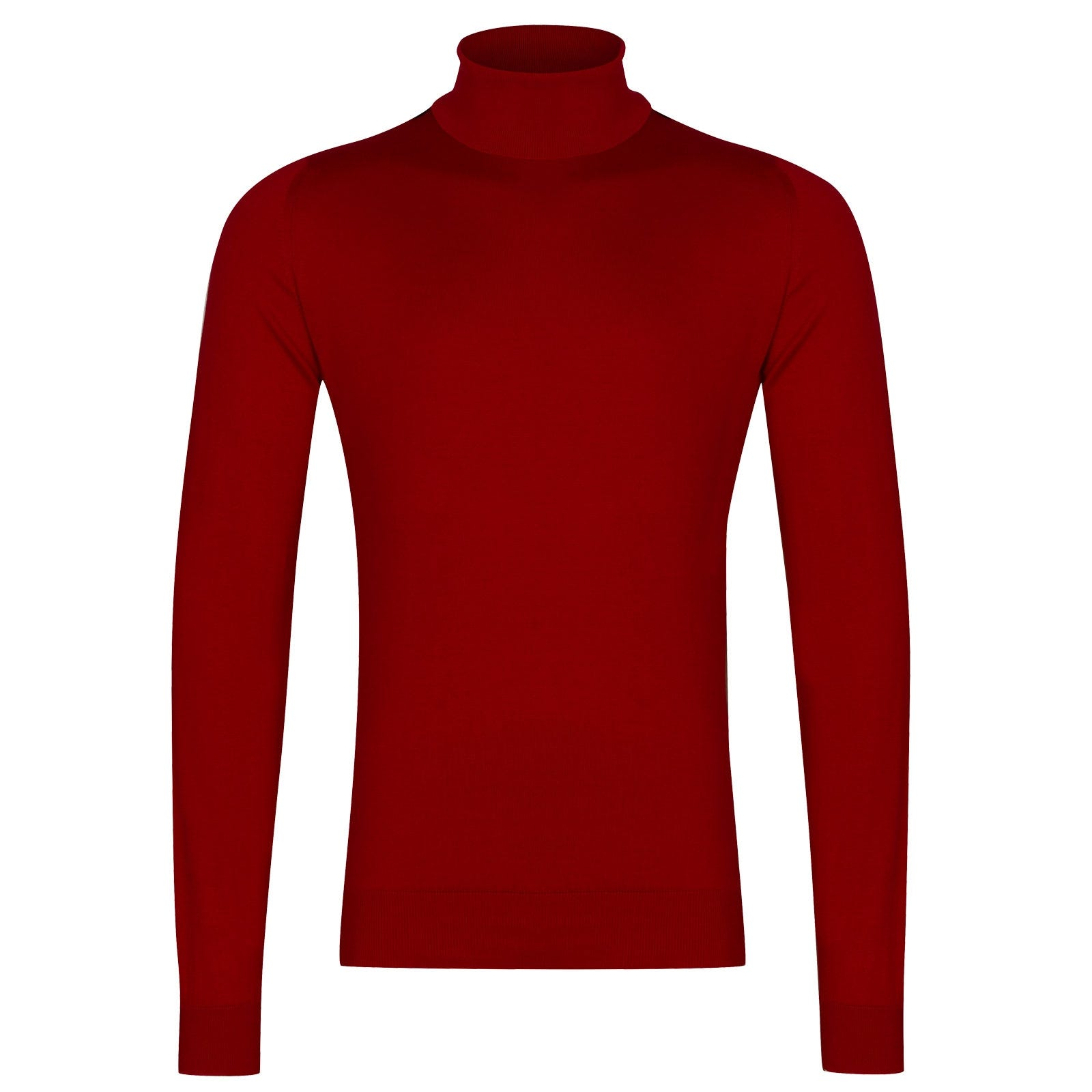 John Smedley Hawley Sea Island Cotton Pullover in Thermal Red-XL