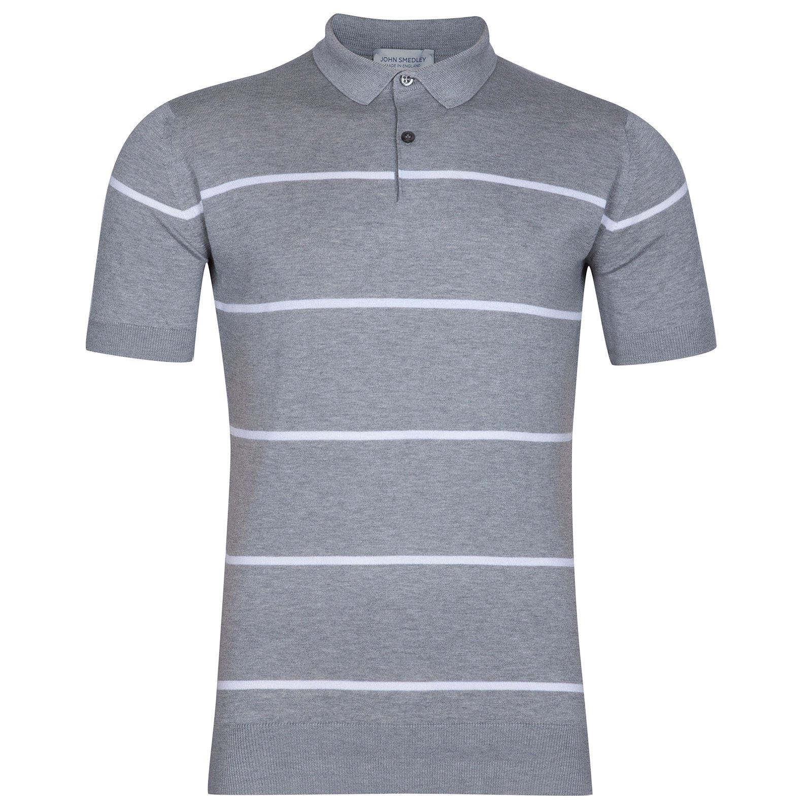 John Smedley Hembury Sea Island Cotton Shirt in Silver-XL