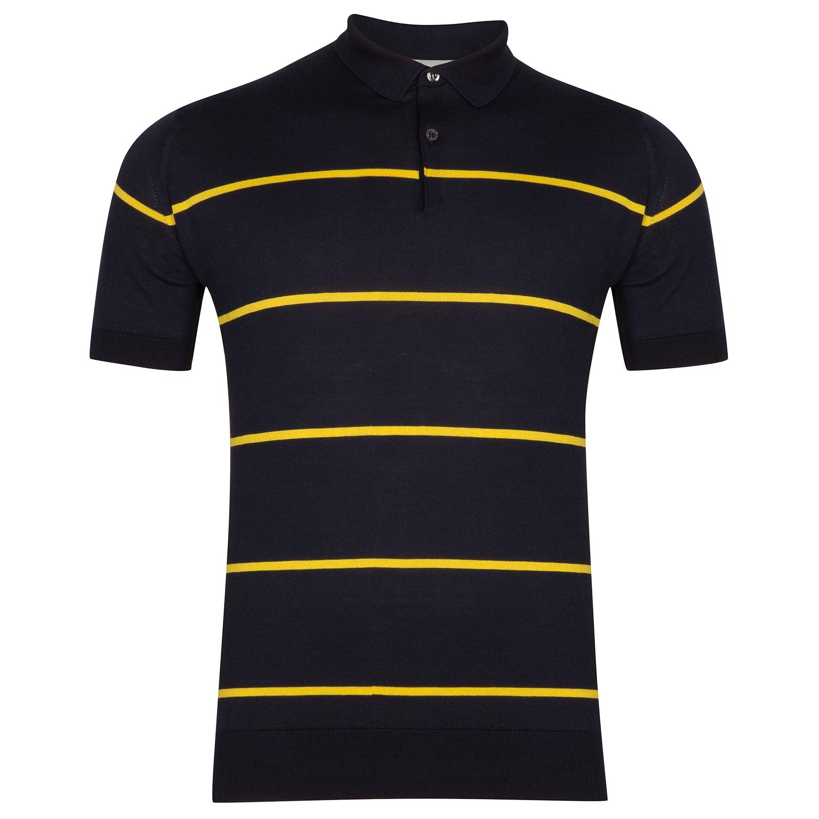 John Smedley Hembury Sea Island Cotton Shirt in Navy-XXL