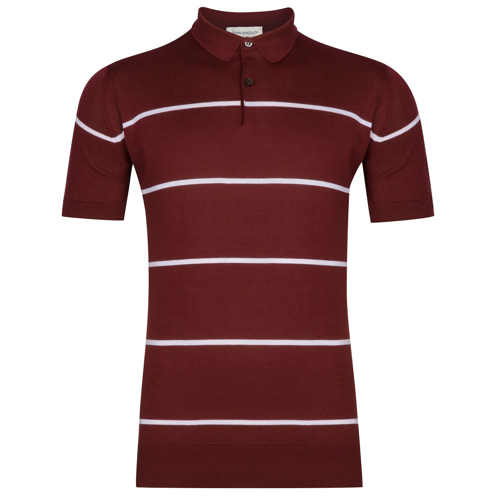 John Smedley Hembury Sea Island Cotton Shirt in Burgundy Grain-M