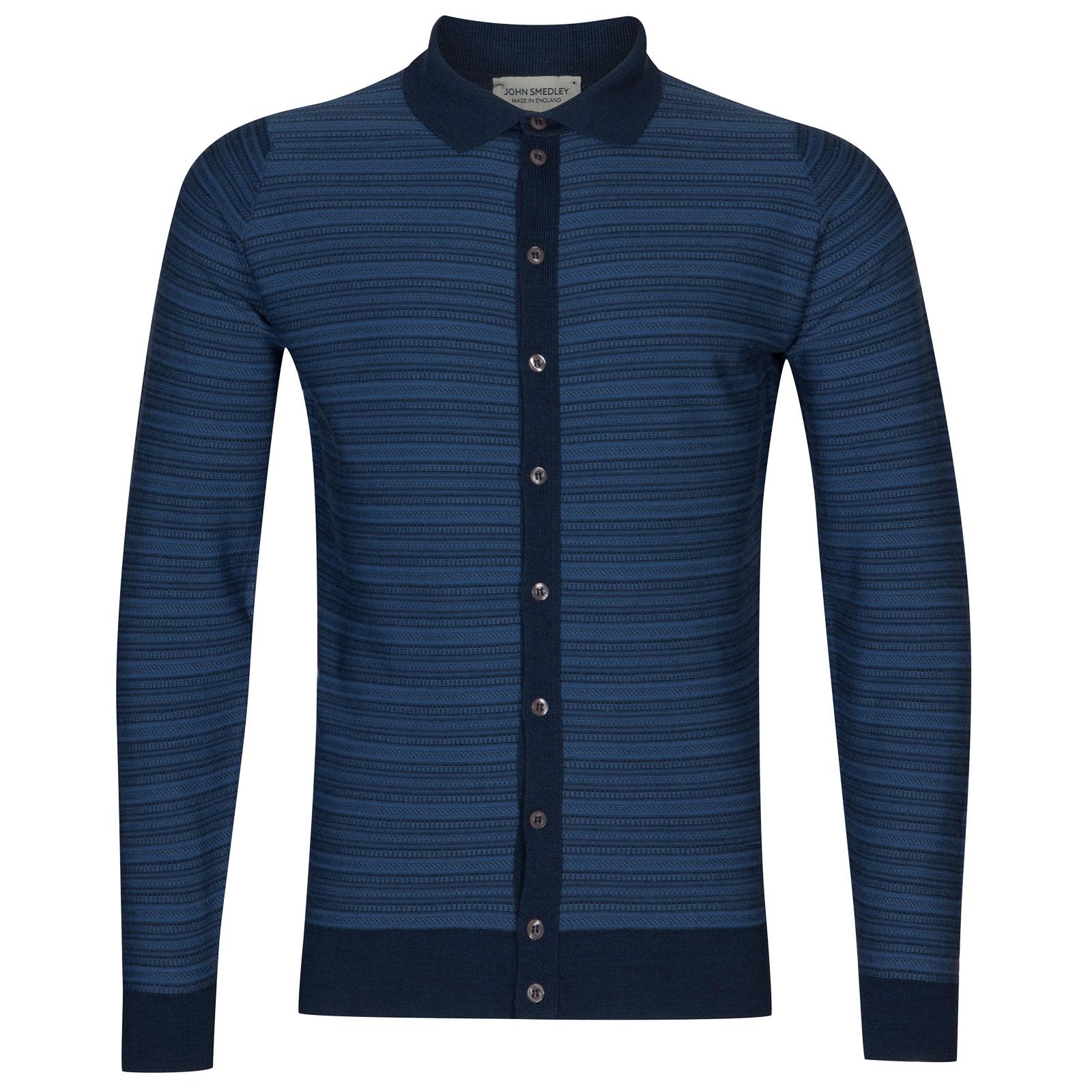 John Smedley hemlock Merino Wool Shirt in Indigo/Derwent Blue-M