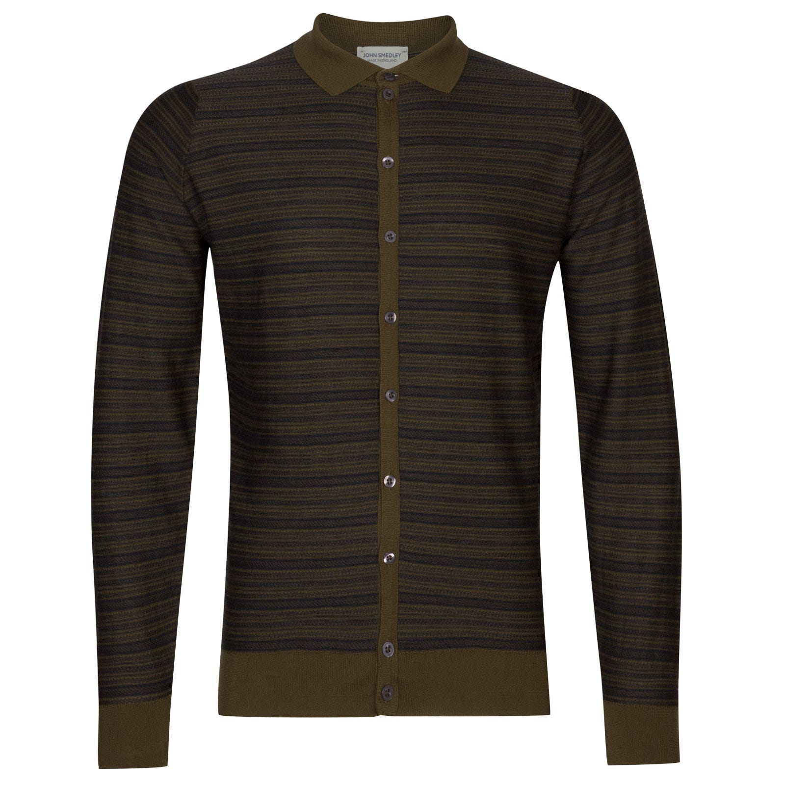 John Smedley hemlock Merino Wool Shirt in Hepburn Smoke/Kielder