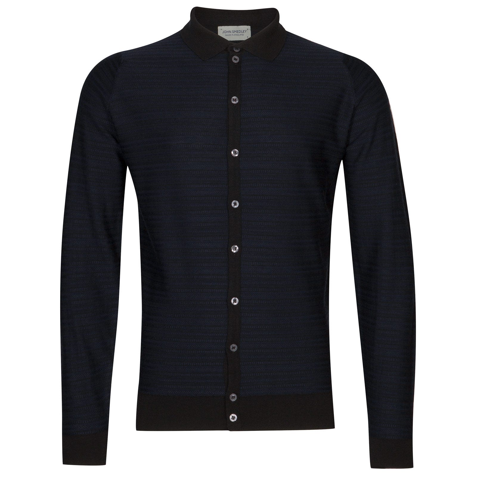 John Smedley hemlock Merino Wool Shirt in Black/Midnight-XL