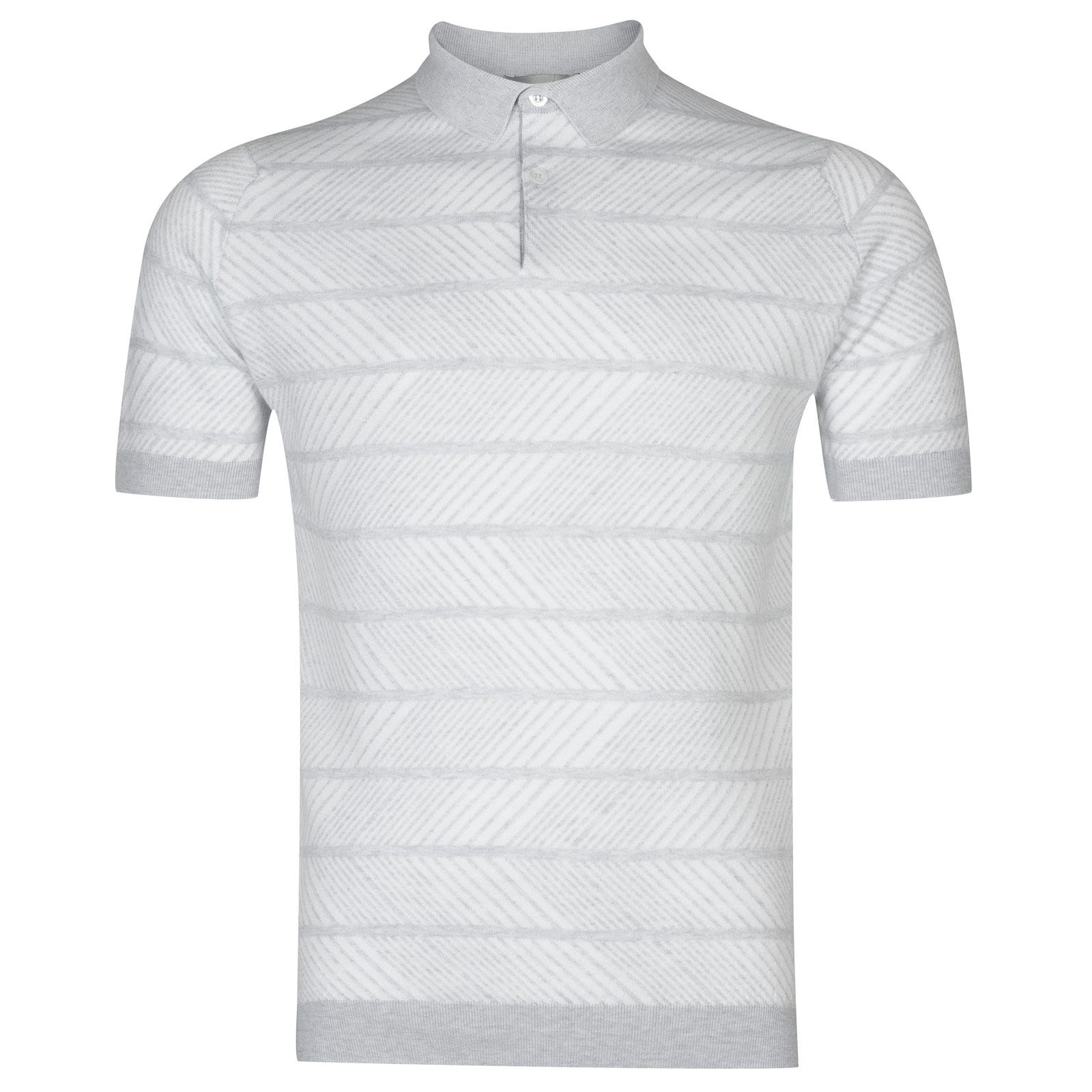 John Smedley Hermann in Feather Grey/White-Xxl