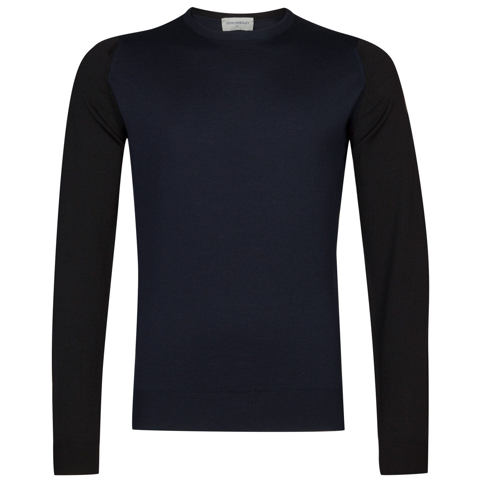 John Smedley hindlow Merino Wool Pullover in Black/Midnight-XXL