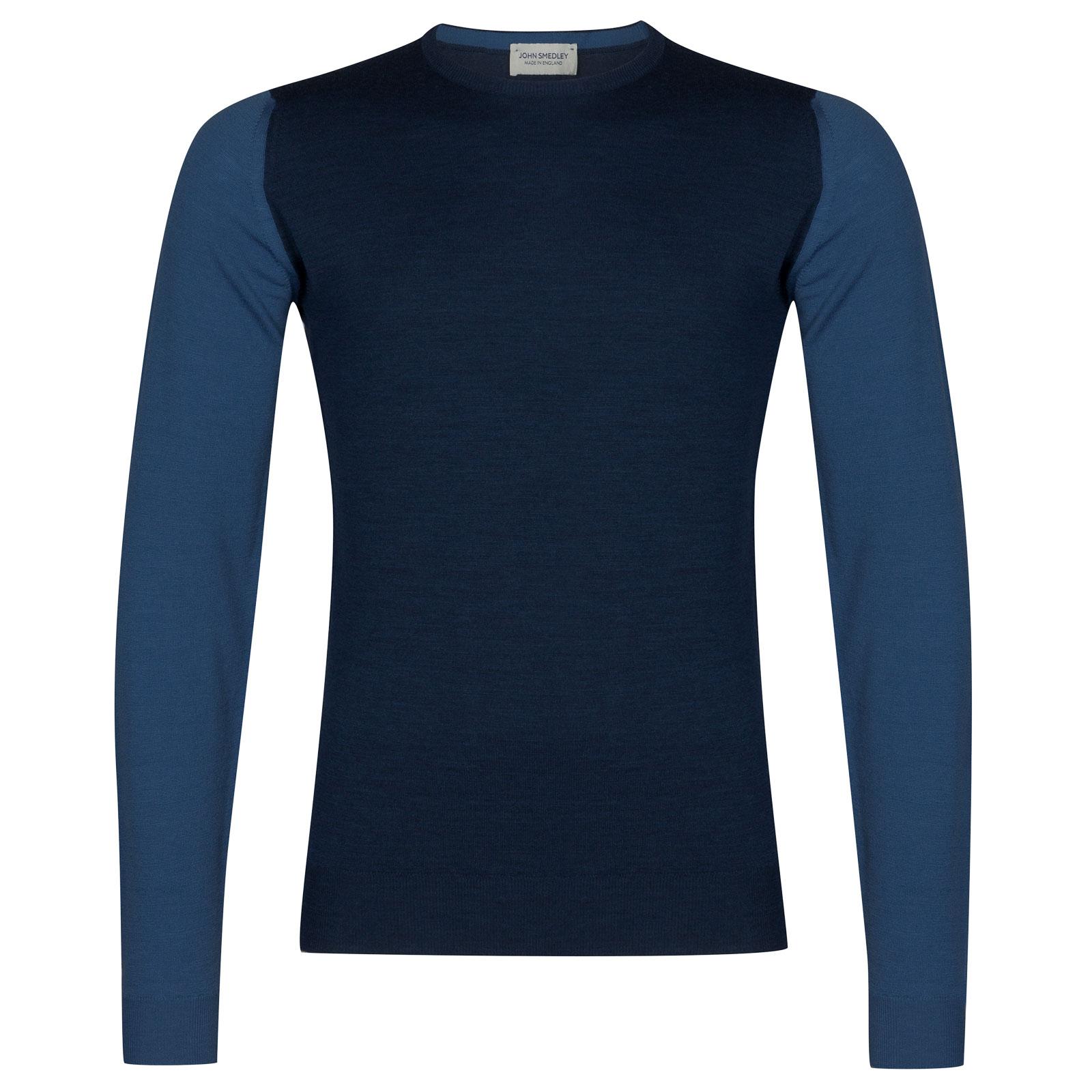John Smedley hindlow Merino Wool Pullover in Indigo/Derwent Blue-L