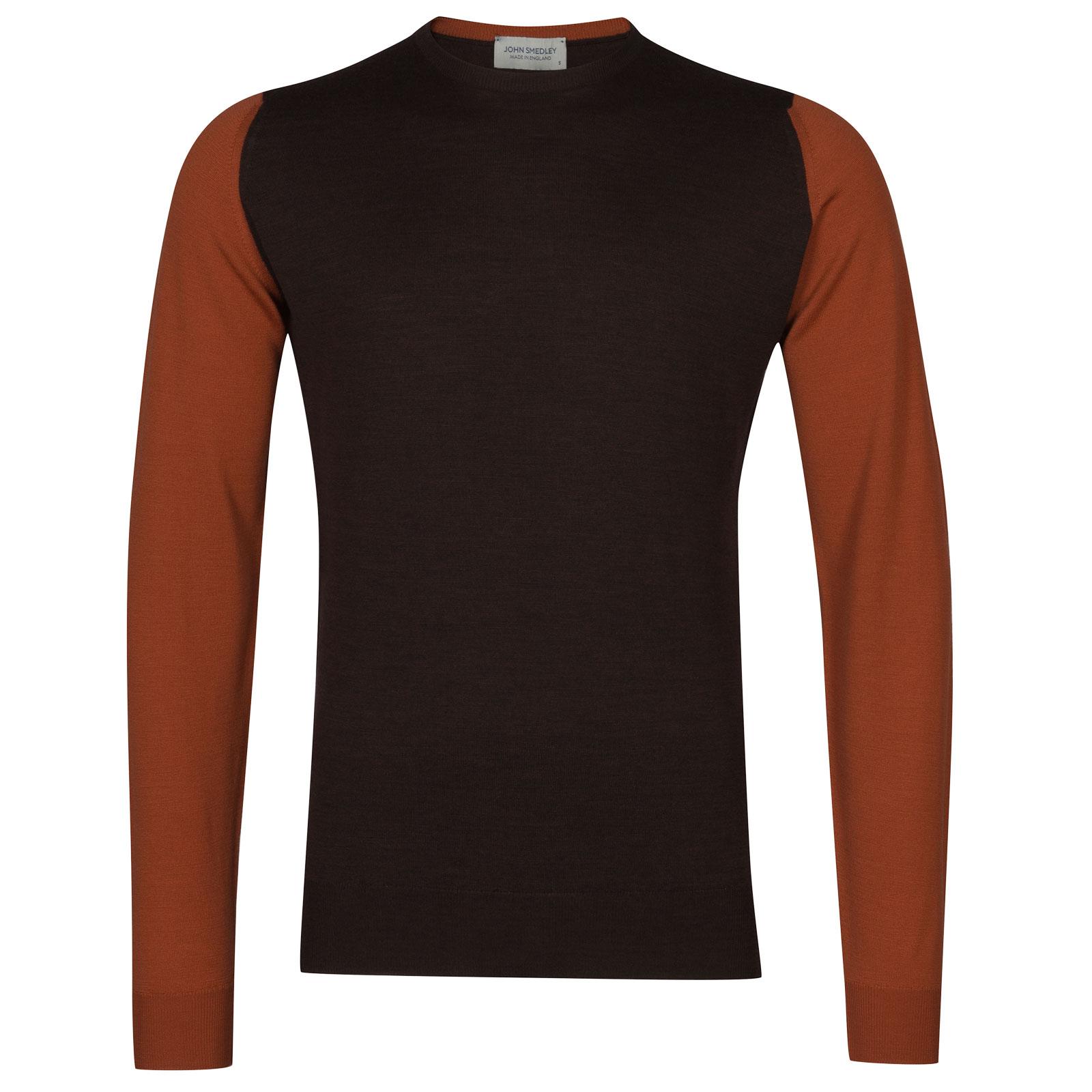 John Smedley hindlow Merino Wool Pullover in Chestnut/Flare Orange-XL