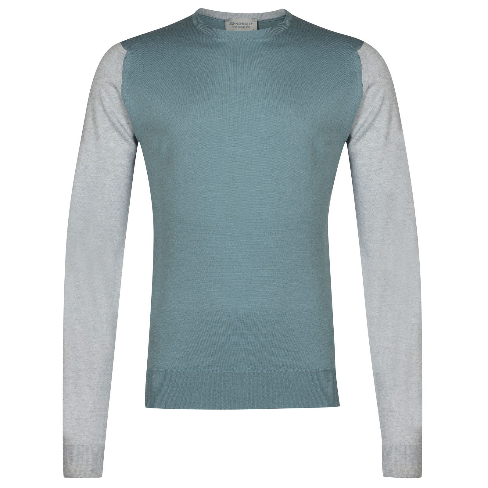 John Smedley hindlow Merino Wool Pullover in Bardot Grey/Summit Blue-M