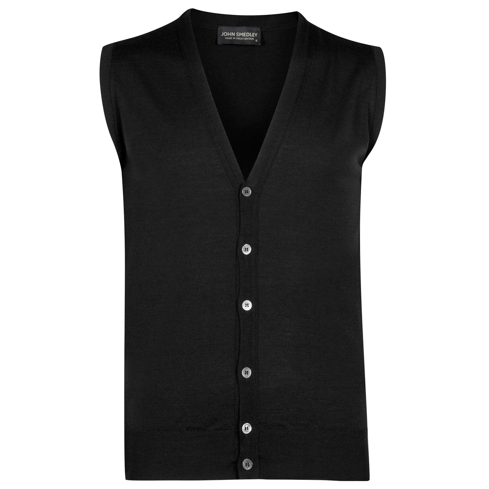 John Smedley huntswood Merino Wool Waistcoat in Black-S