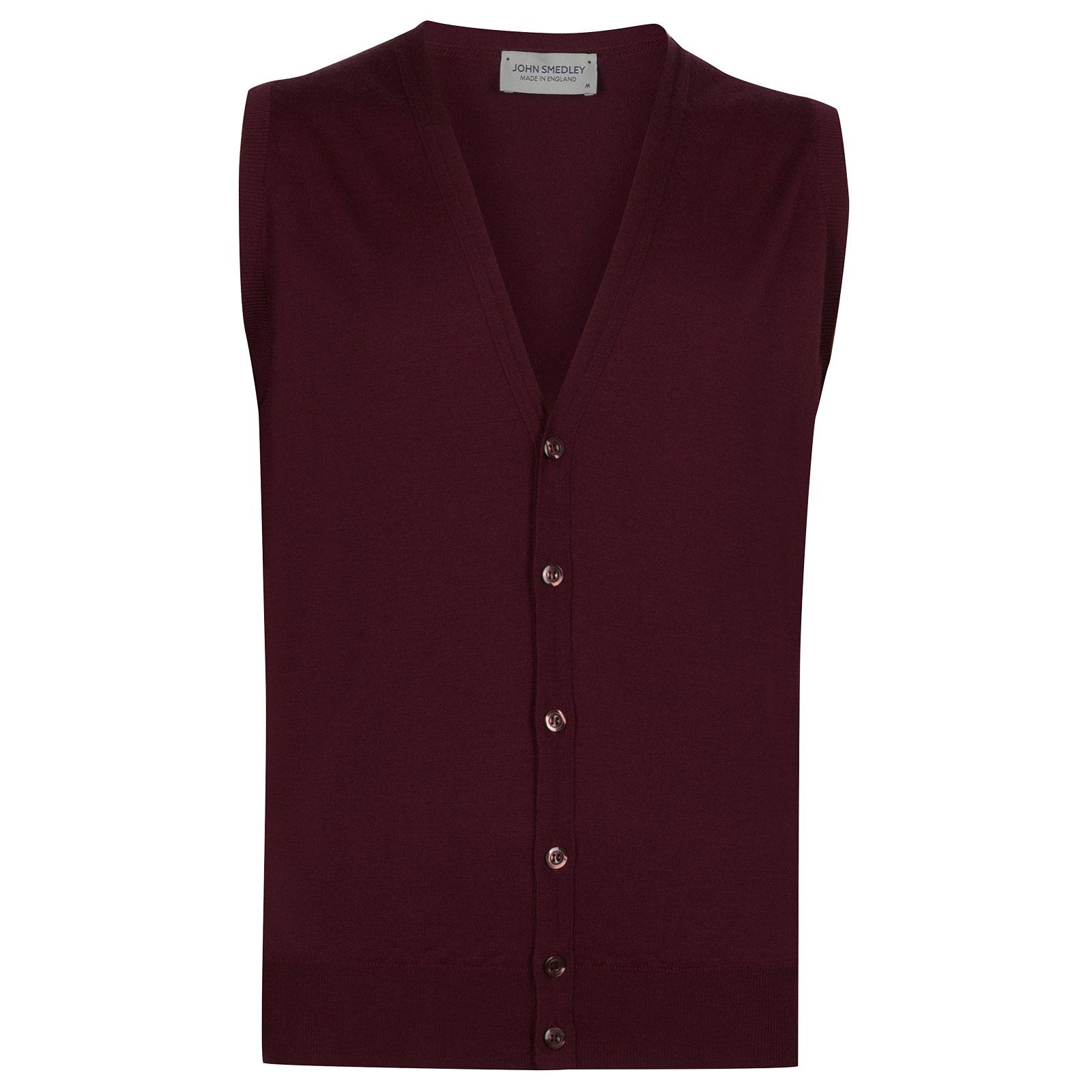 John Smedley HuntswoodMerino Wool Waistcoat in Bordeaux-XXL