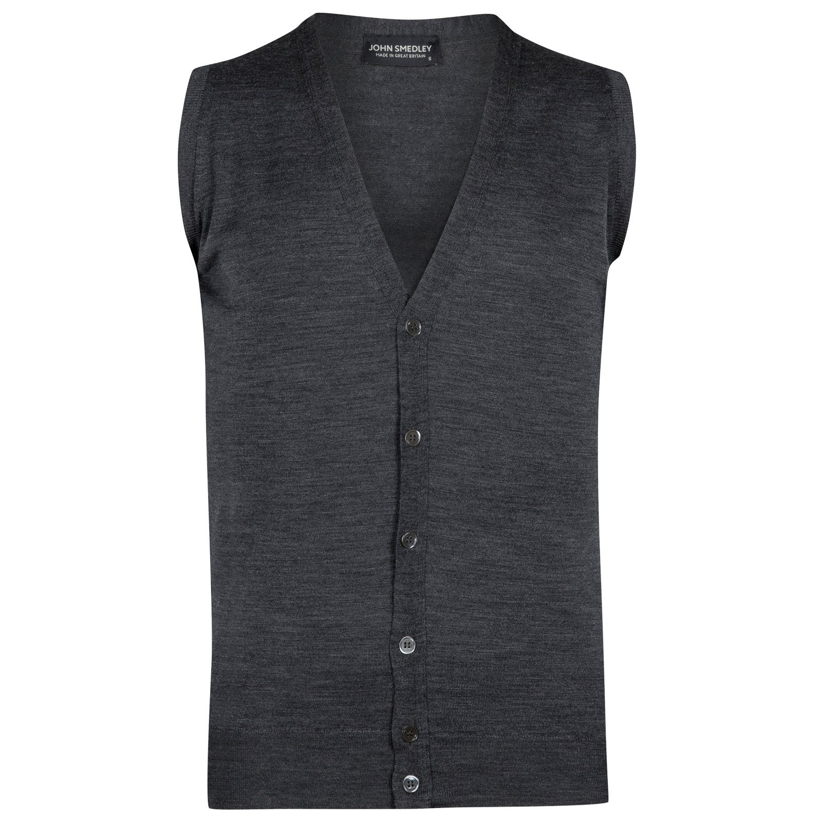 John Smedley huntswood Merino Wool Waistcoat in Charcoal-XXL