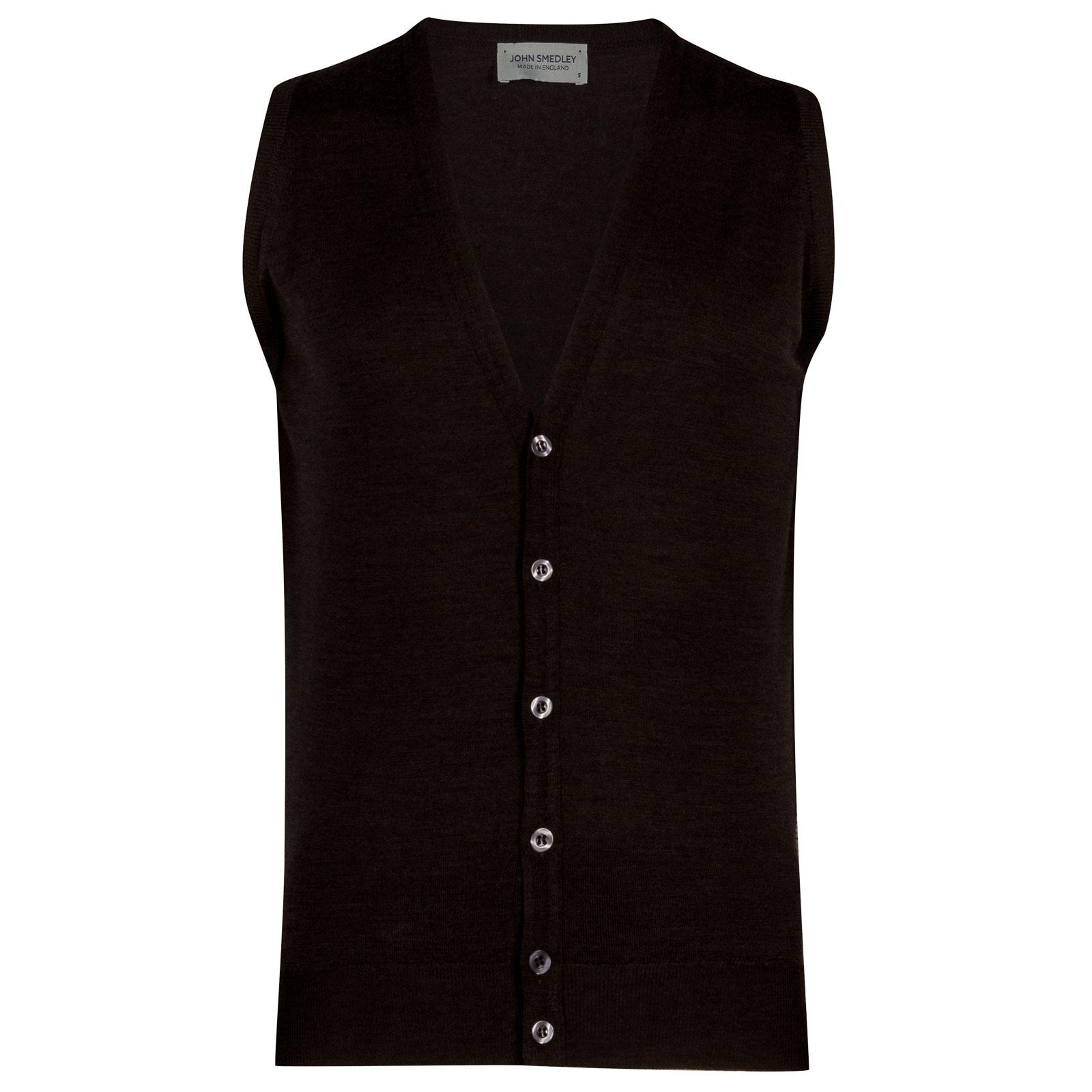 John Smedley huntswood Merino Wool Waistcoat in Chestnut-S