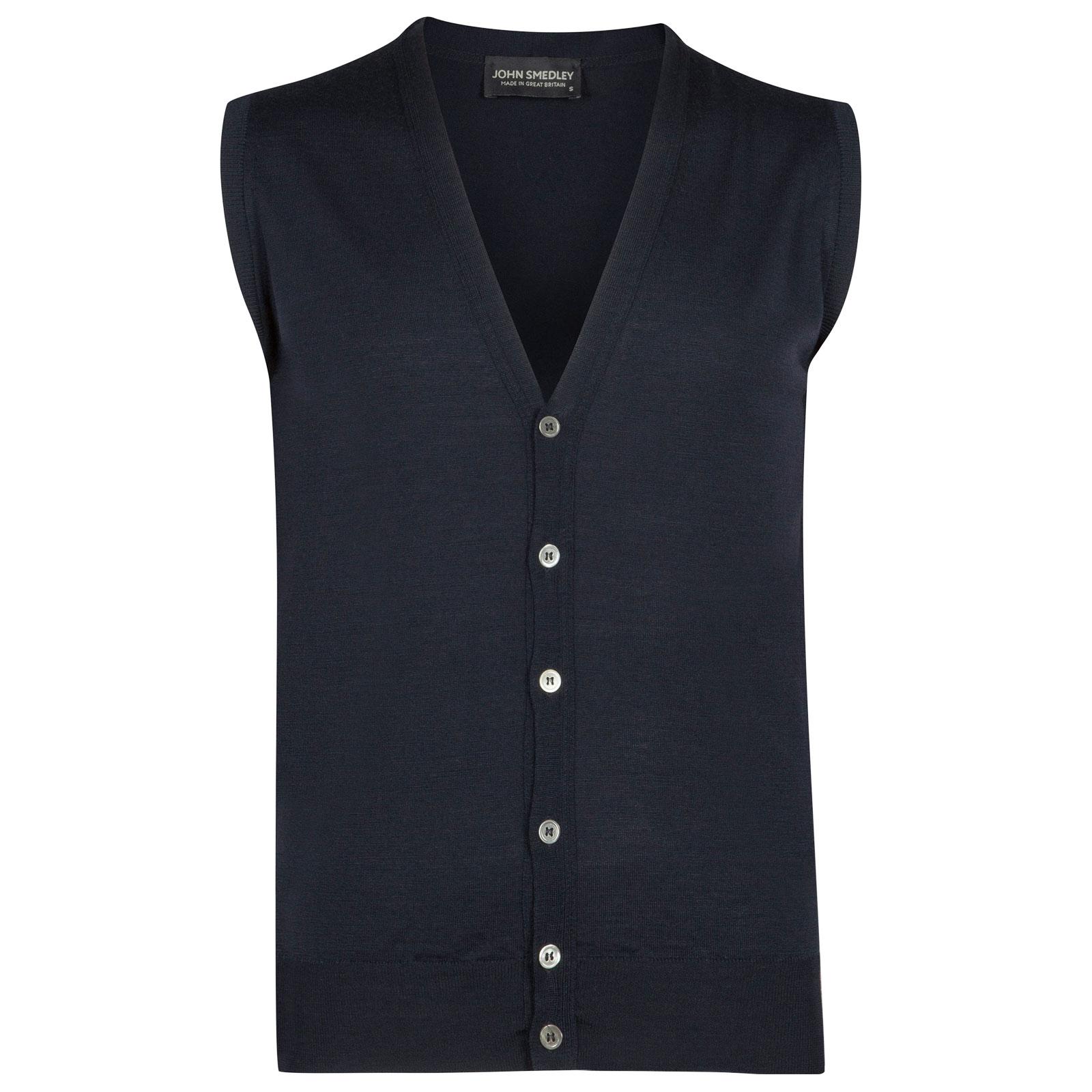 John Smedley huntswood Merino Wool Waistcoat in Midnight-XXL