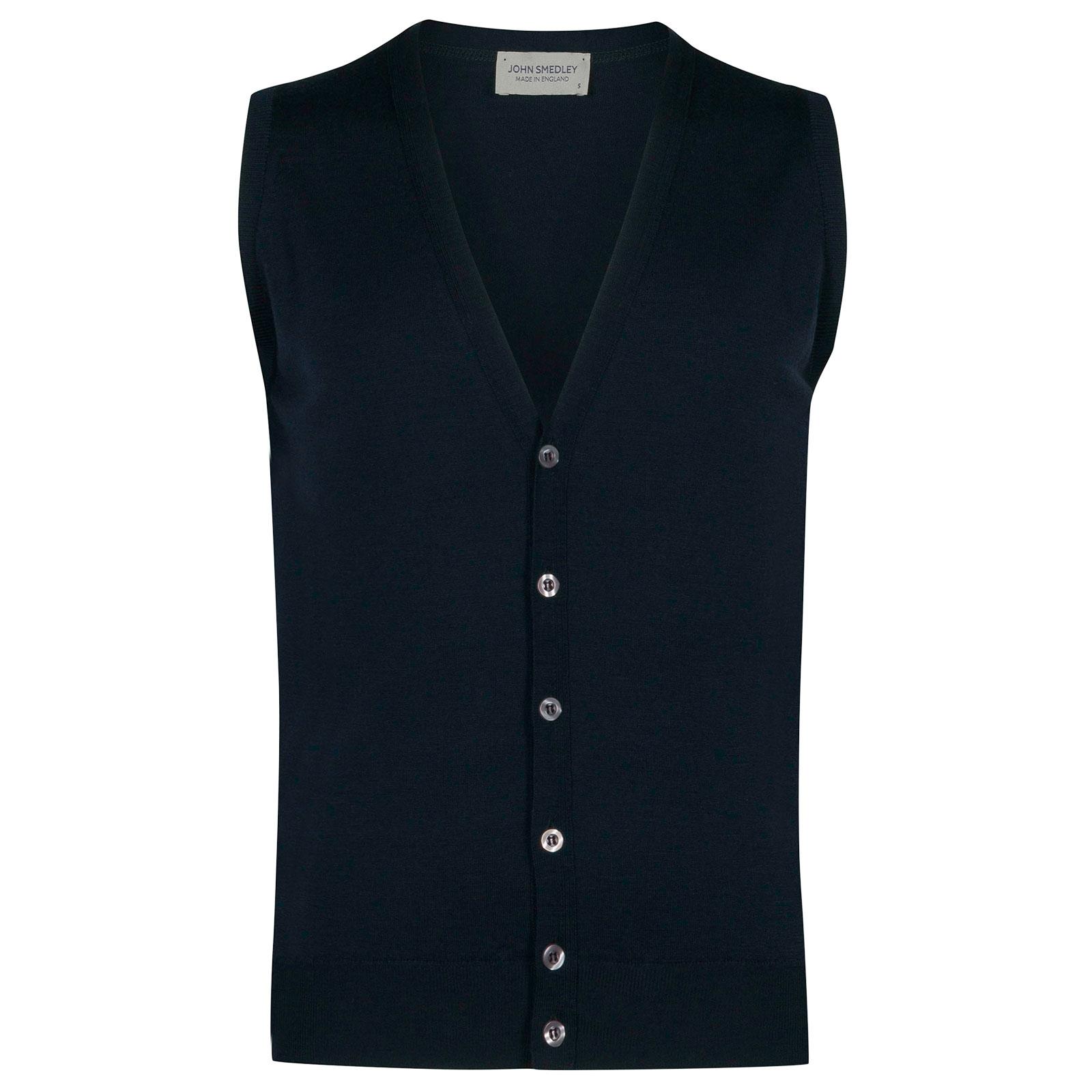 John Smedley HuntswoodMerino Wool Waistcoat in Orion Green-XL
