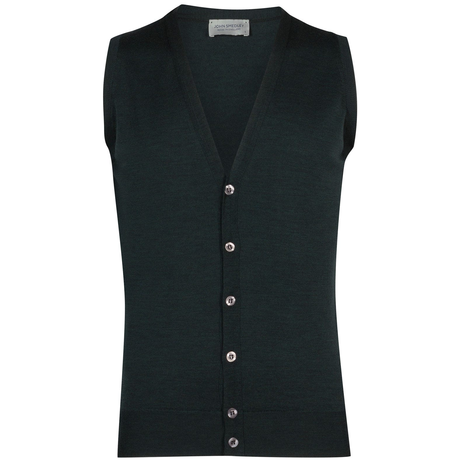 John Smedley huntswood Merino Wool Waistcoat in Racing Green-XL