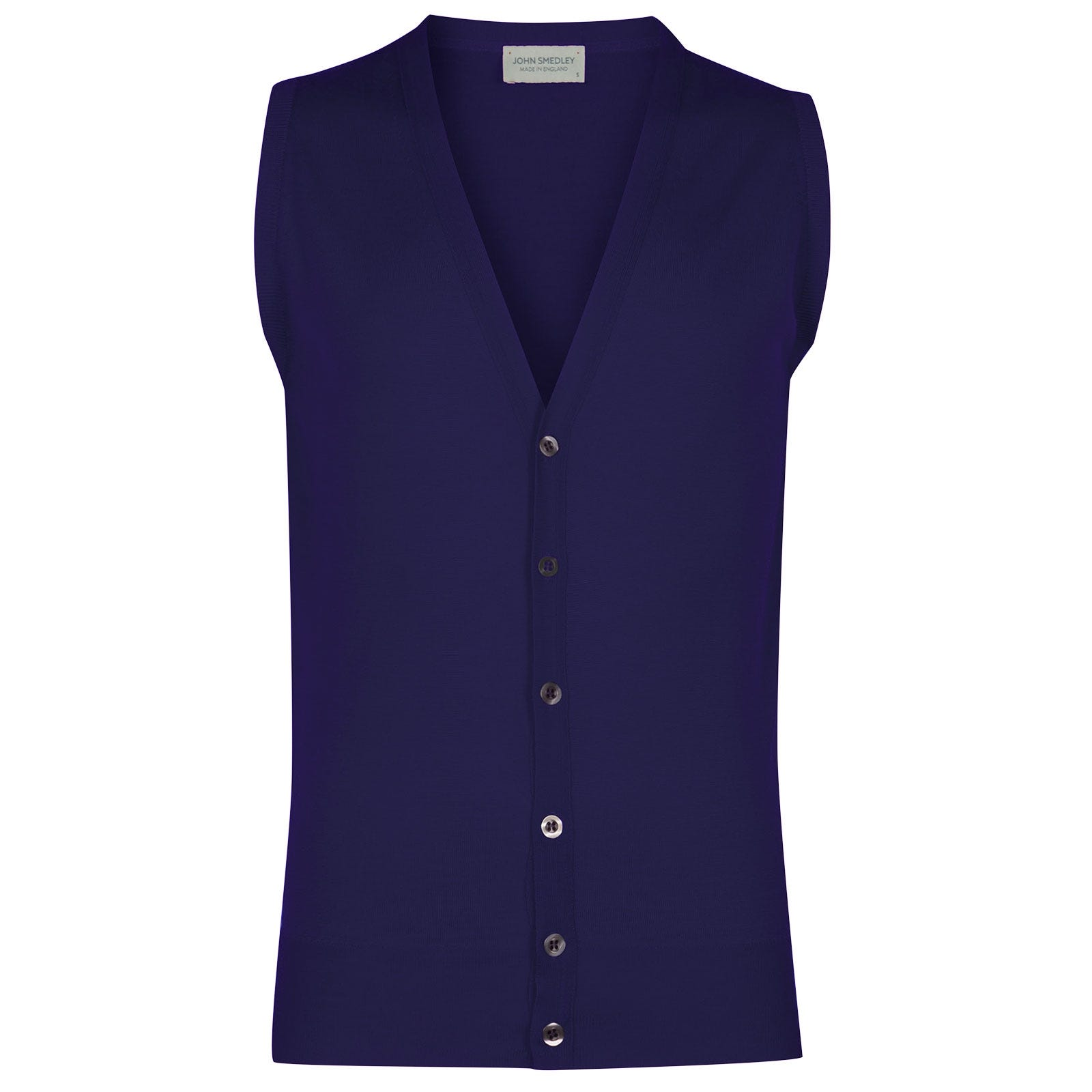 John Smedley Huntswood Merino Wool Waistcoat in Serge Blue-XXL