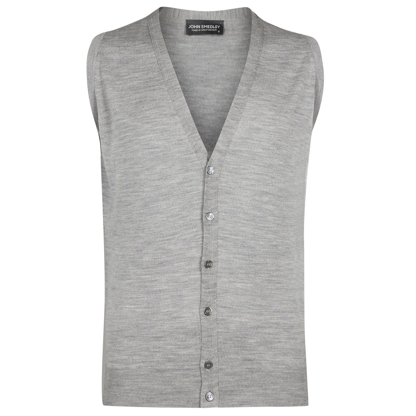 John Smedley huntswood Merino Wool Waistcoat in Silver-XL