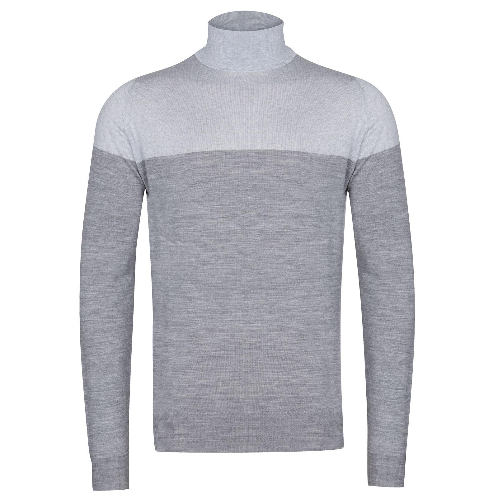 John Smedley Iago Extra Fine Merino Pullover in Silver-XL