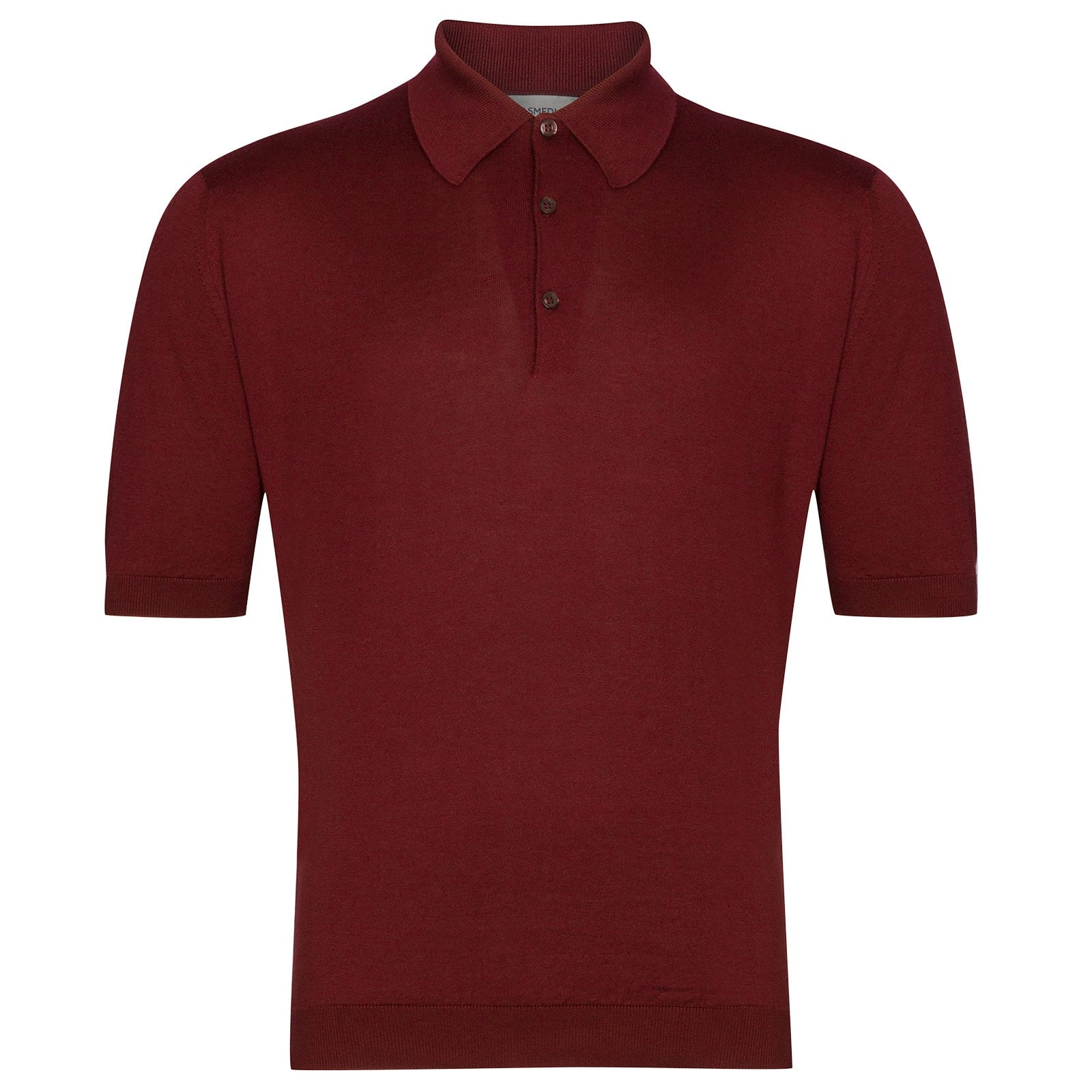 John Smedley Isis Sea Island Cotton Shirt in Burgundy Grain-XS