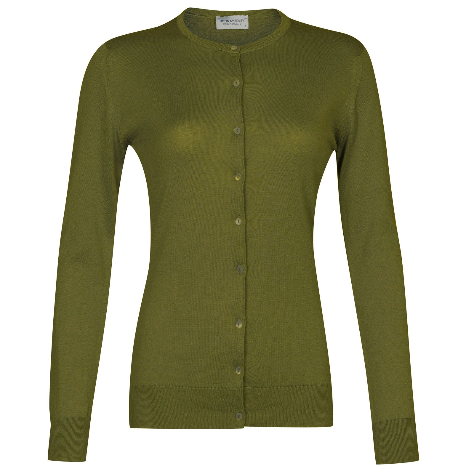 John Smedley Islington Sea Island Cotton Cardigan in Lumsdale Green-S