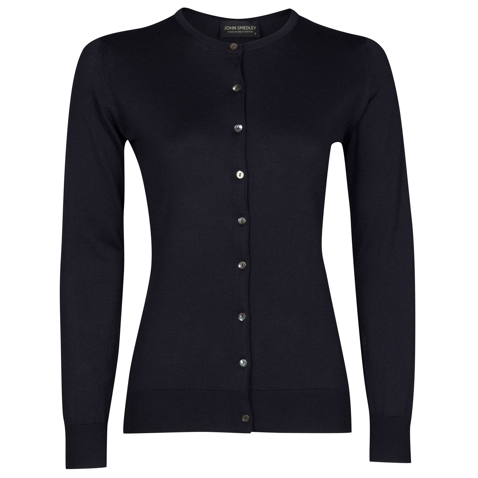 John Smedley Islington Sea Island Cotton Cardigan in Navy-S
