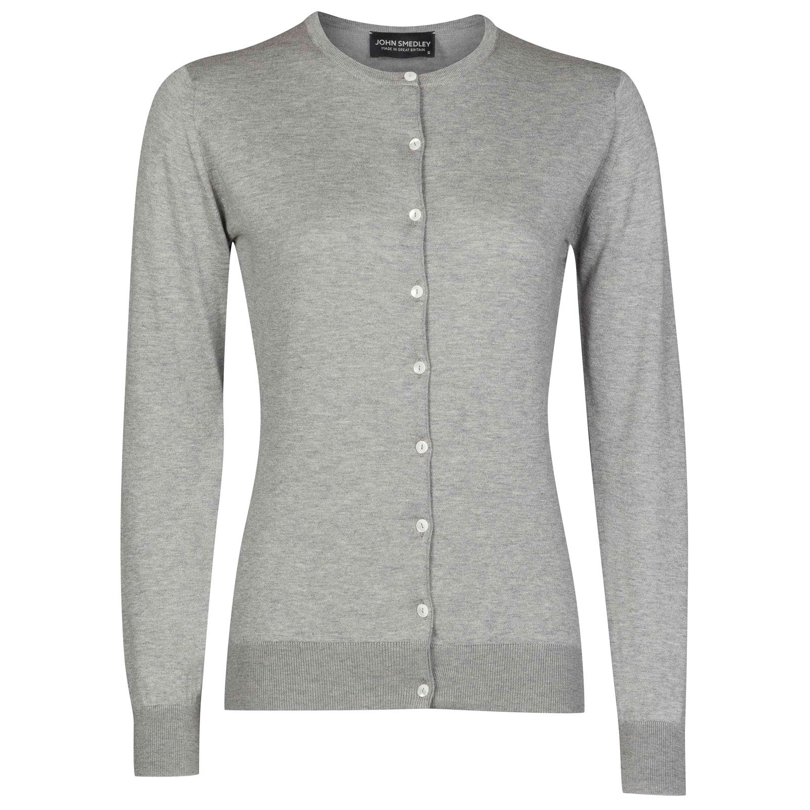 John Smedley Islington Sea Island Cotton Cardigan in Silver-XL