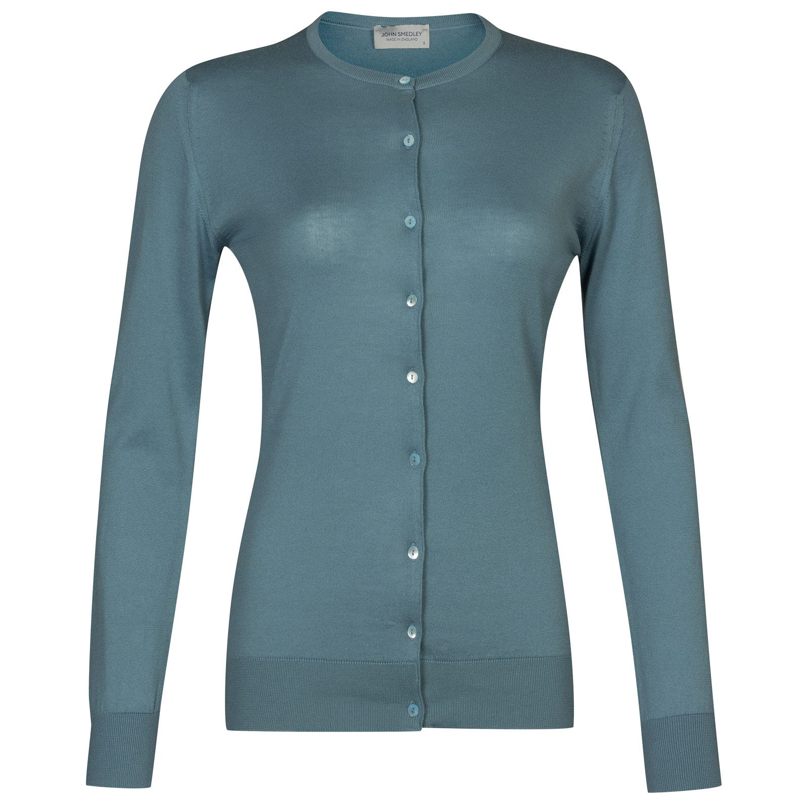 John Smedley Islington Sea Island Cotton Cardigan in Summit Blue-XL