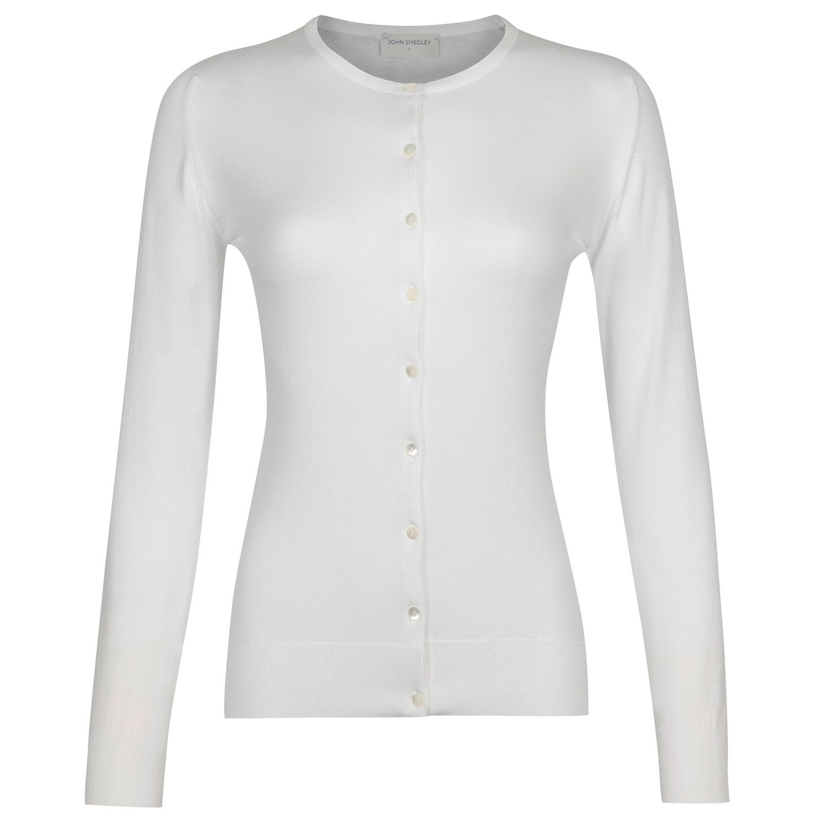 John Smedley Islington Sea Island Cotton Cardigan in White-XL