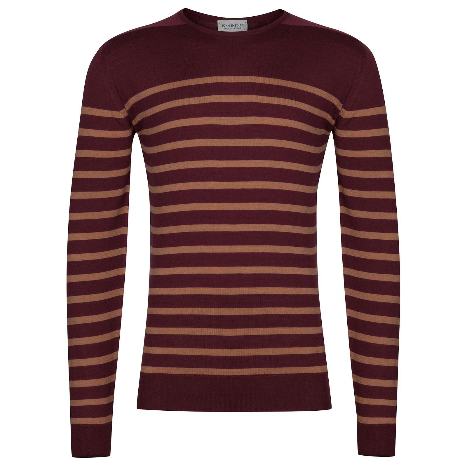 John Smedley Jakob Extra Fine Merino Pullover in Bordeaux-XL