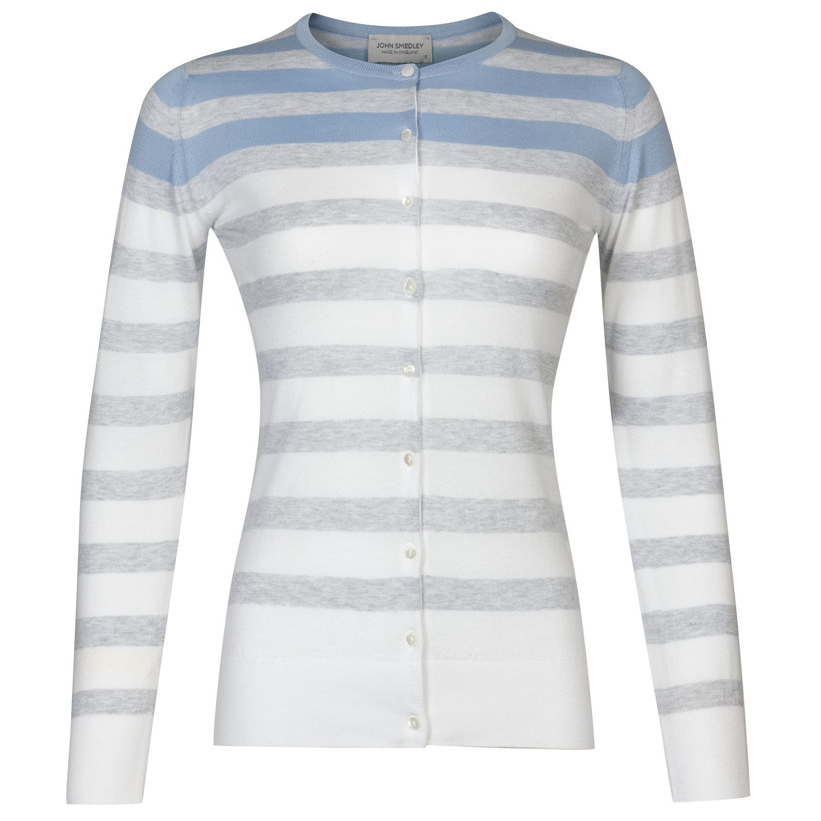John Smedley Joyner in White/Feather Grey-M