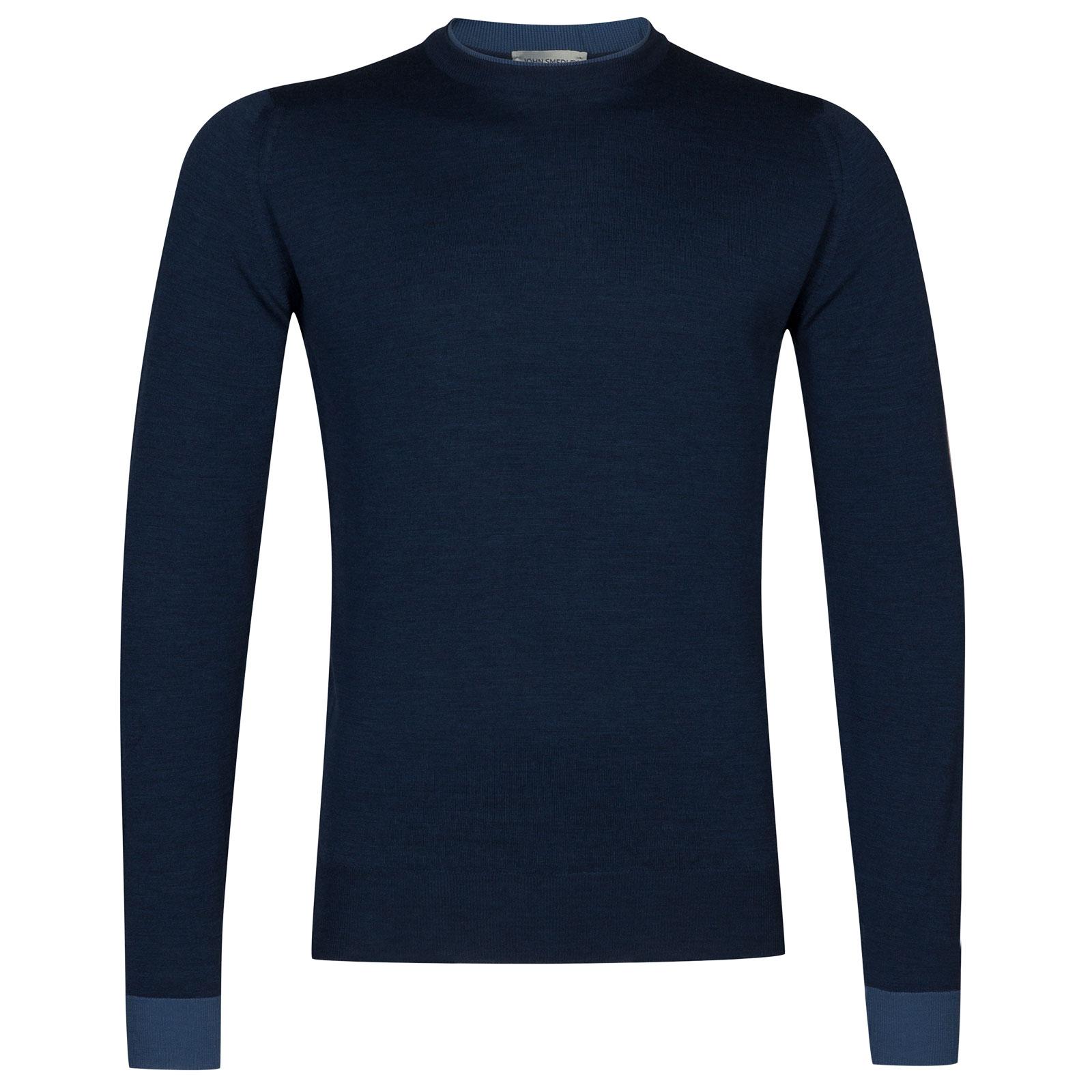 John Smedley kenn Merino Wool Pullover in Indigo/Derwent Blue-M