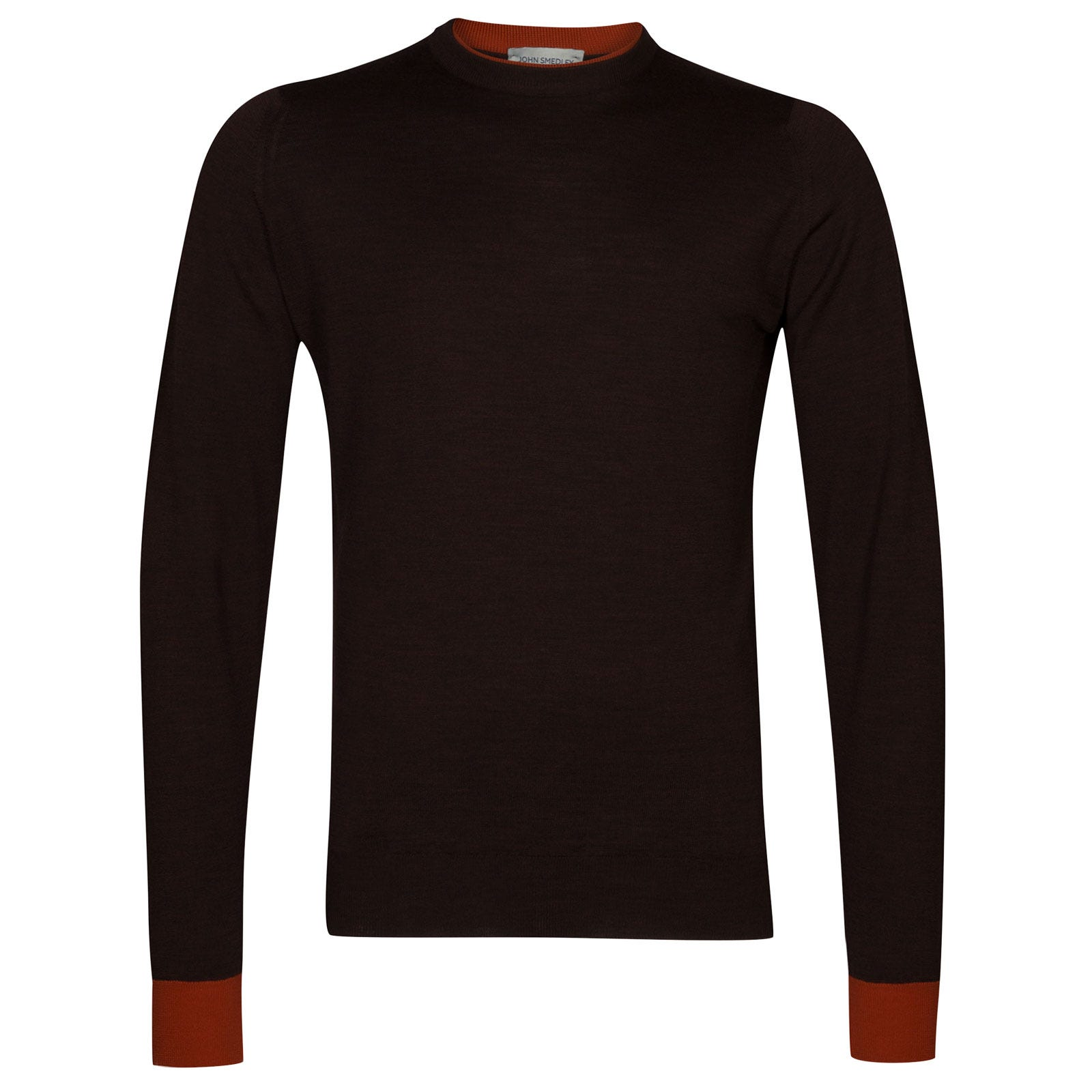 John Smedley kenn Merino Wool Pullover in Chestnut/Flare Orange-L
