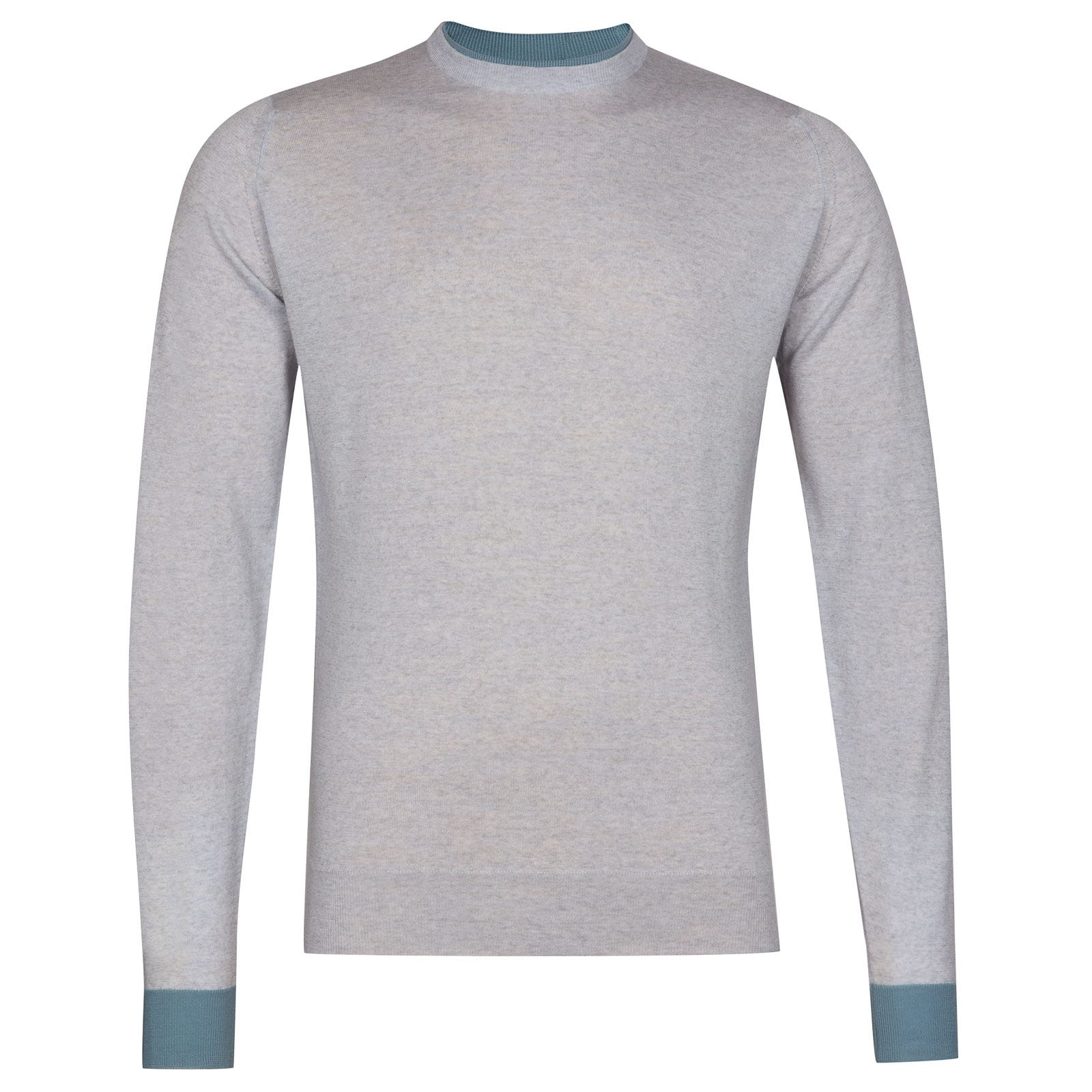 John Smedley kenn Merino Wool Pullover in Bardot Grey/Summit Blue-L