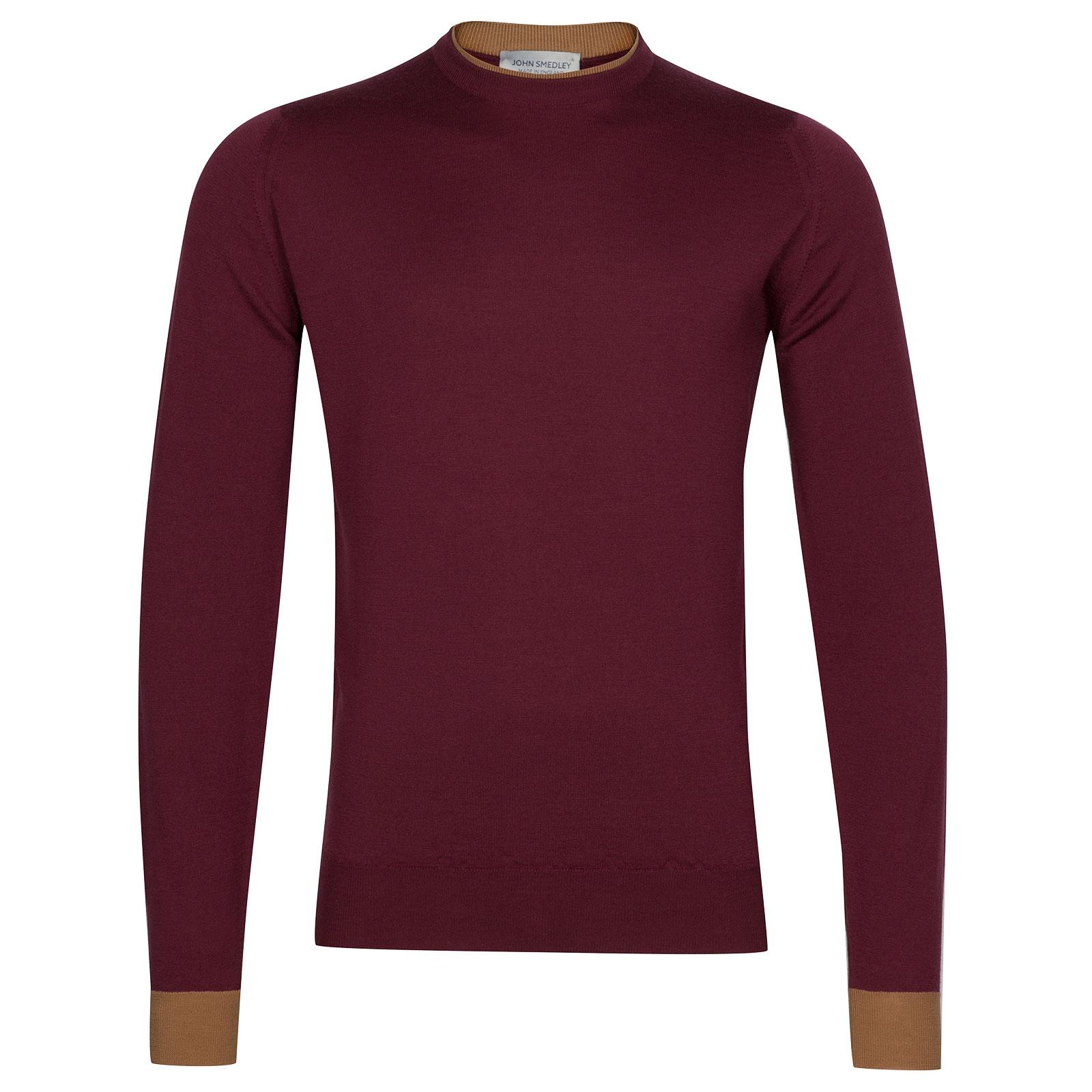 John Smedley Kenn Extra Fine Merino Pullover in Bordeaux-XXL