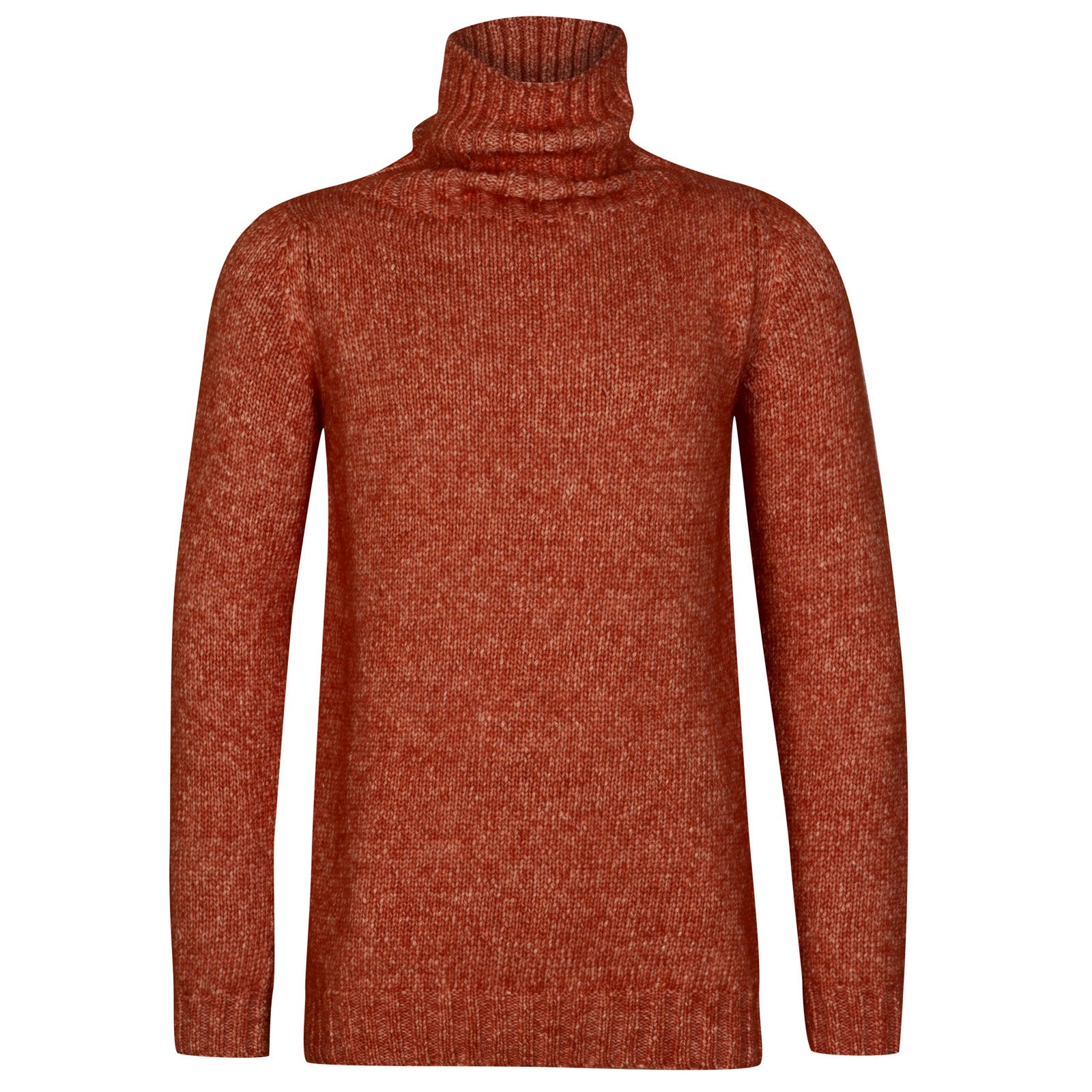 John Smedley kilbreck Alpaca, Wool & Cotton Pullover in Flare Orange-L