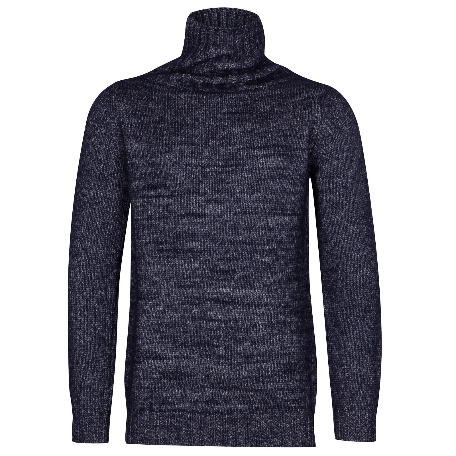 John Smedley kilbreck Alpaca, Wool & Cotton Pullover in Midnight-XL