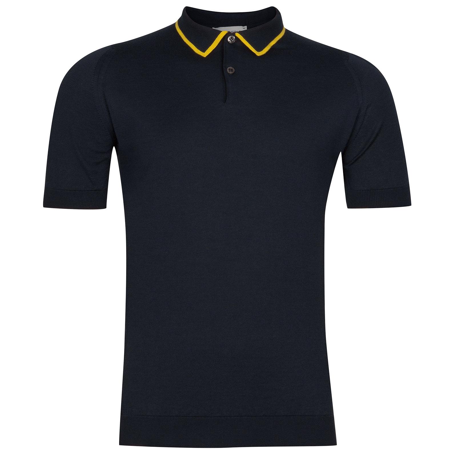 John Smedley Klerk Sea Island Cotton Shirt in Navy-XXL