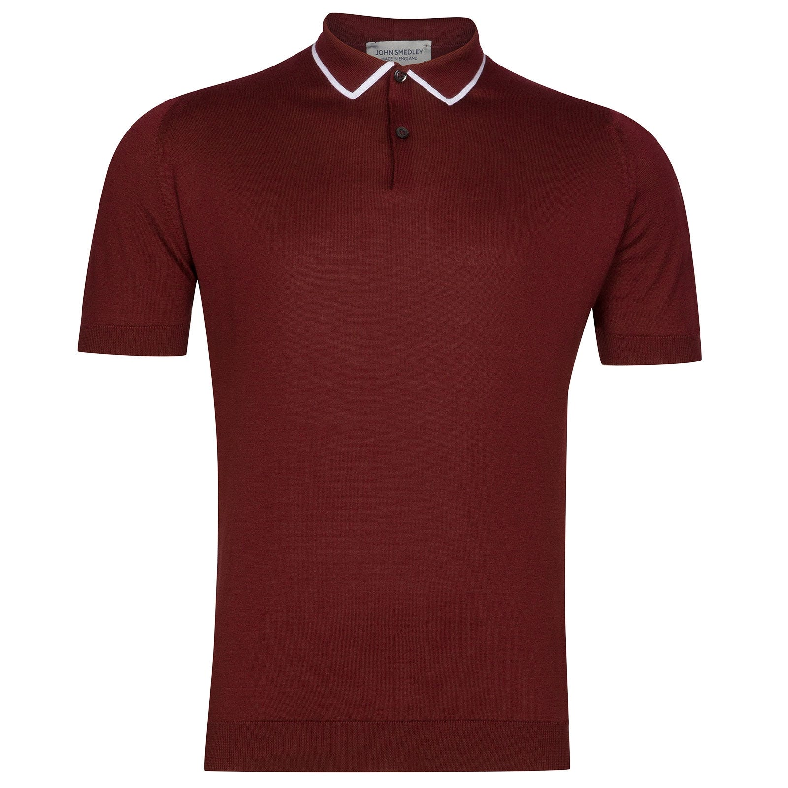 John Smedley Klerk Sea Island Cotton Shirt in Burgundy Grain-XL