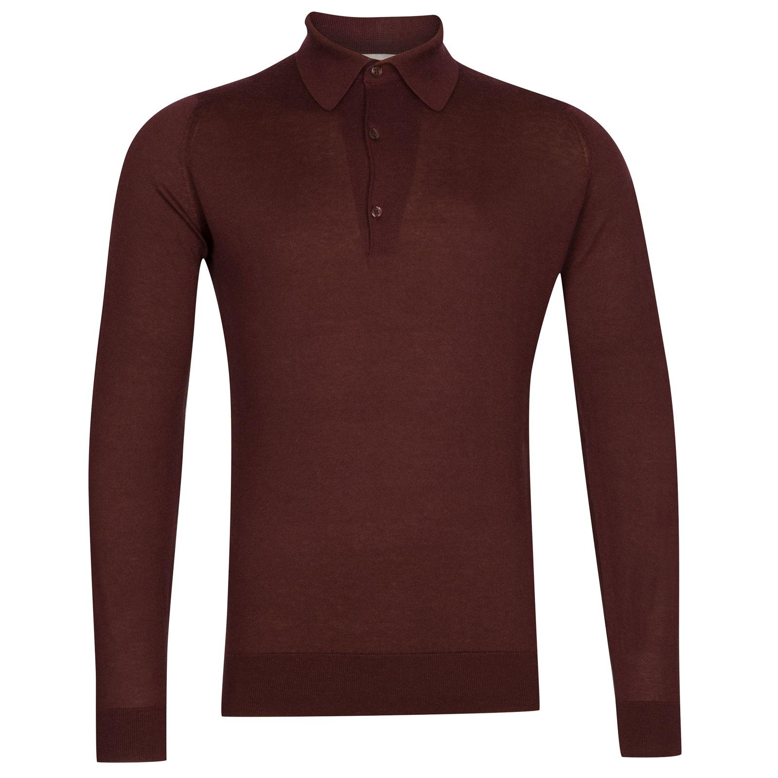 John Smedley Lanlay Sea Island Cotton and Cashmere Shirt in Burgundy